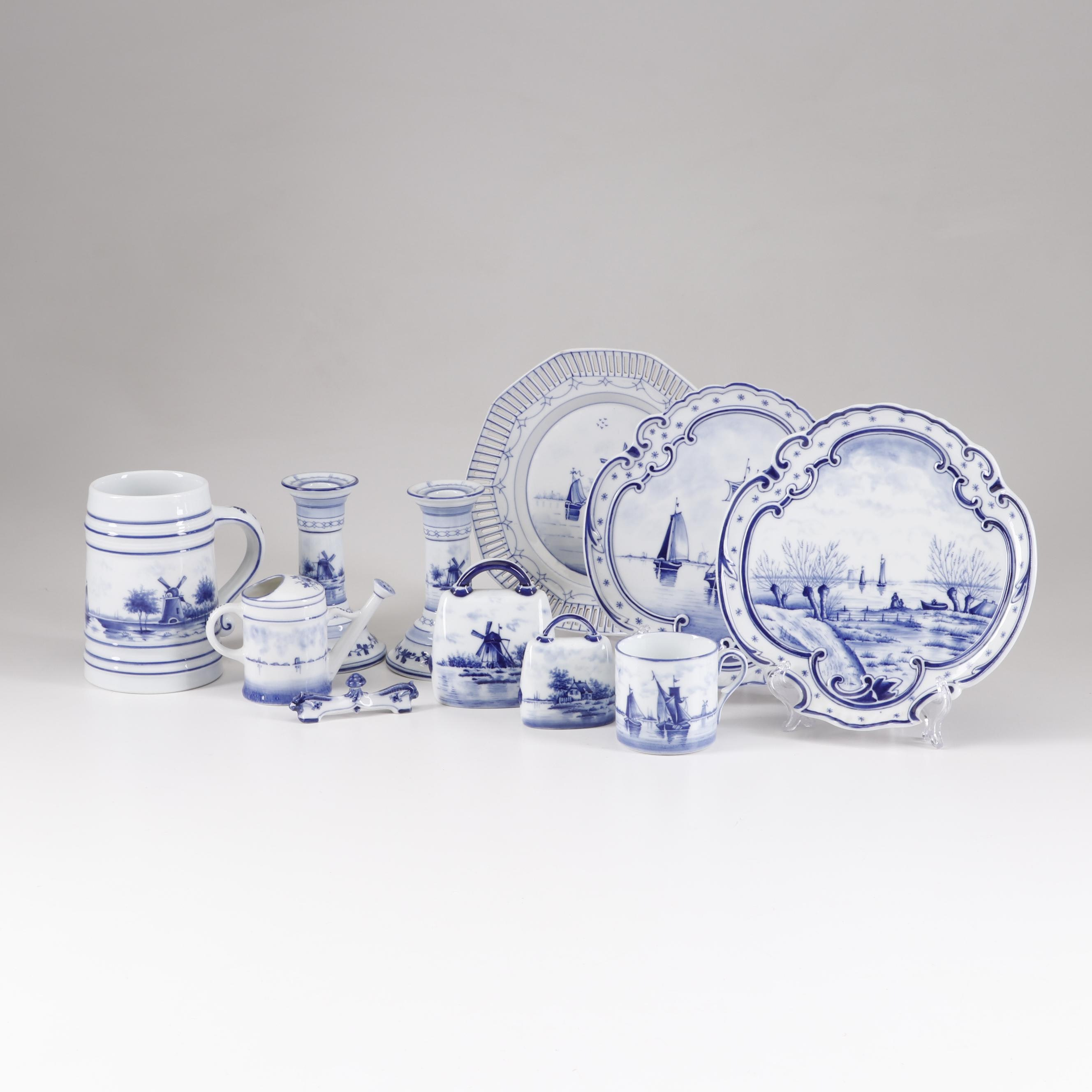 Delft and German Delft Style Tableware Including Schuman