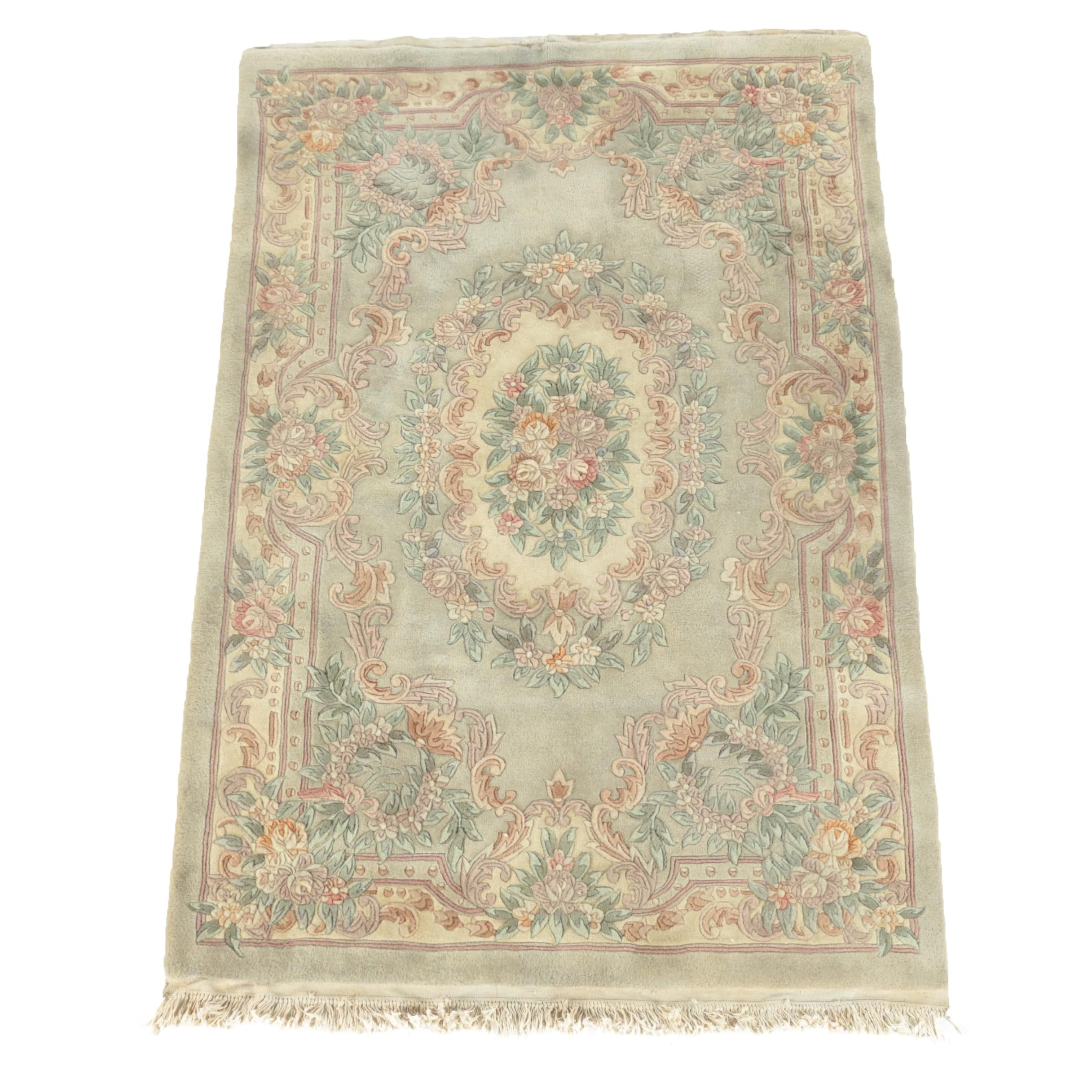 Hand-Knotted and Carved Chinese Floral Wool Area Rug