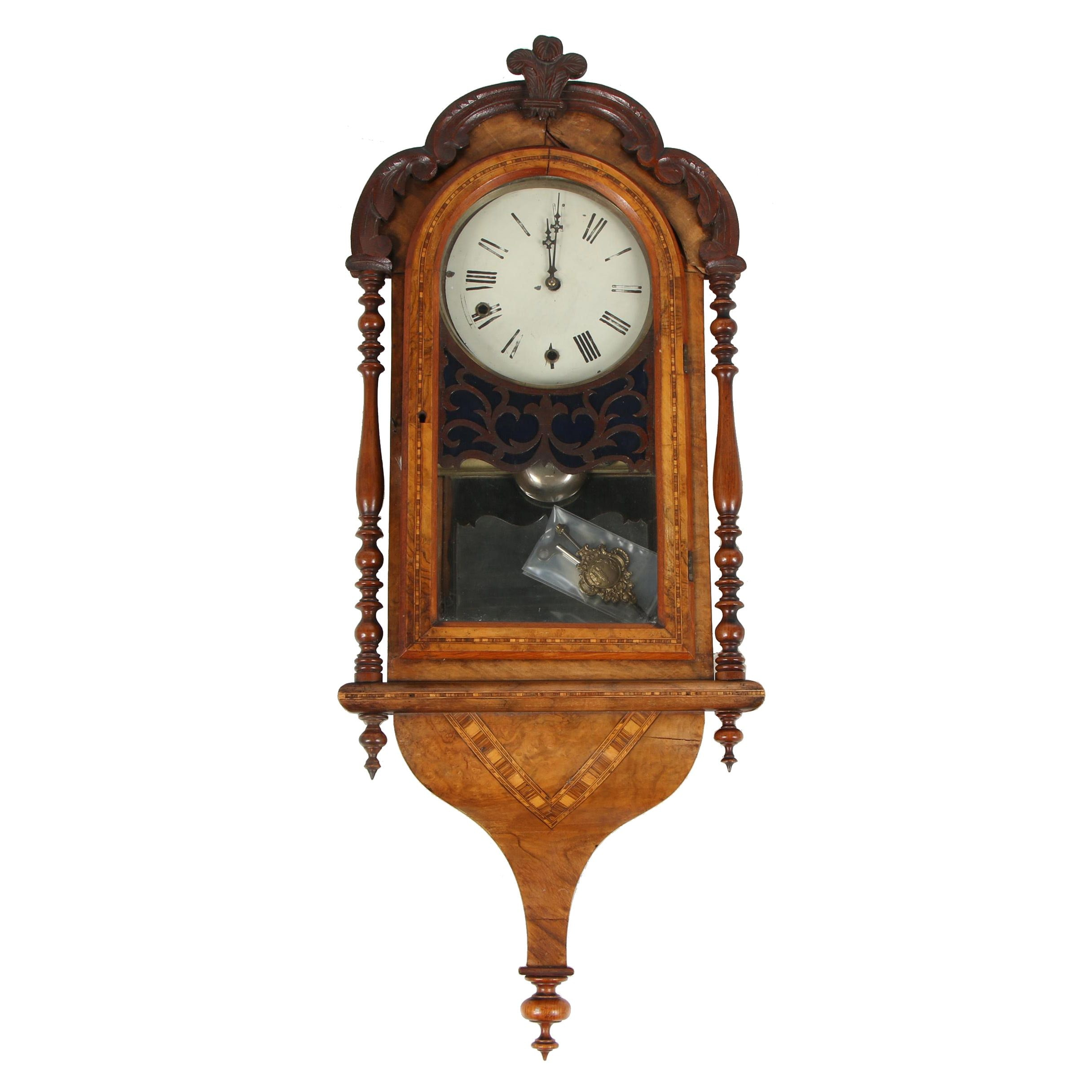 German Style Carved Walnut and Parquetry Inlay Wall Clock, 20th Century