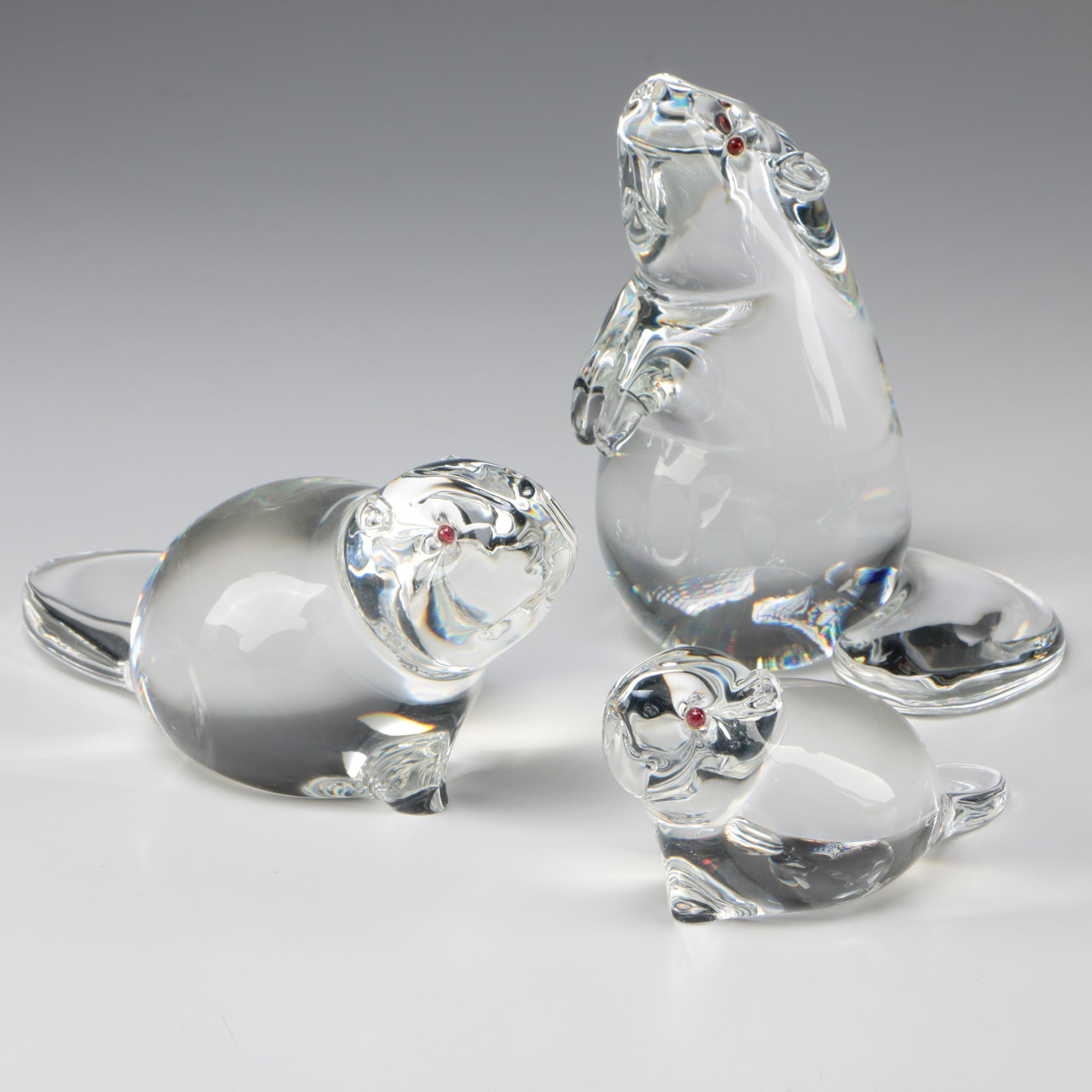 "Steuben Art Glass ""Beaver"" Figurines Designed by Lloyd Atkins, 1970s"