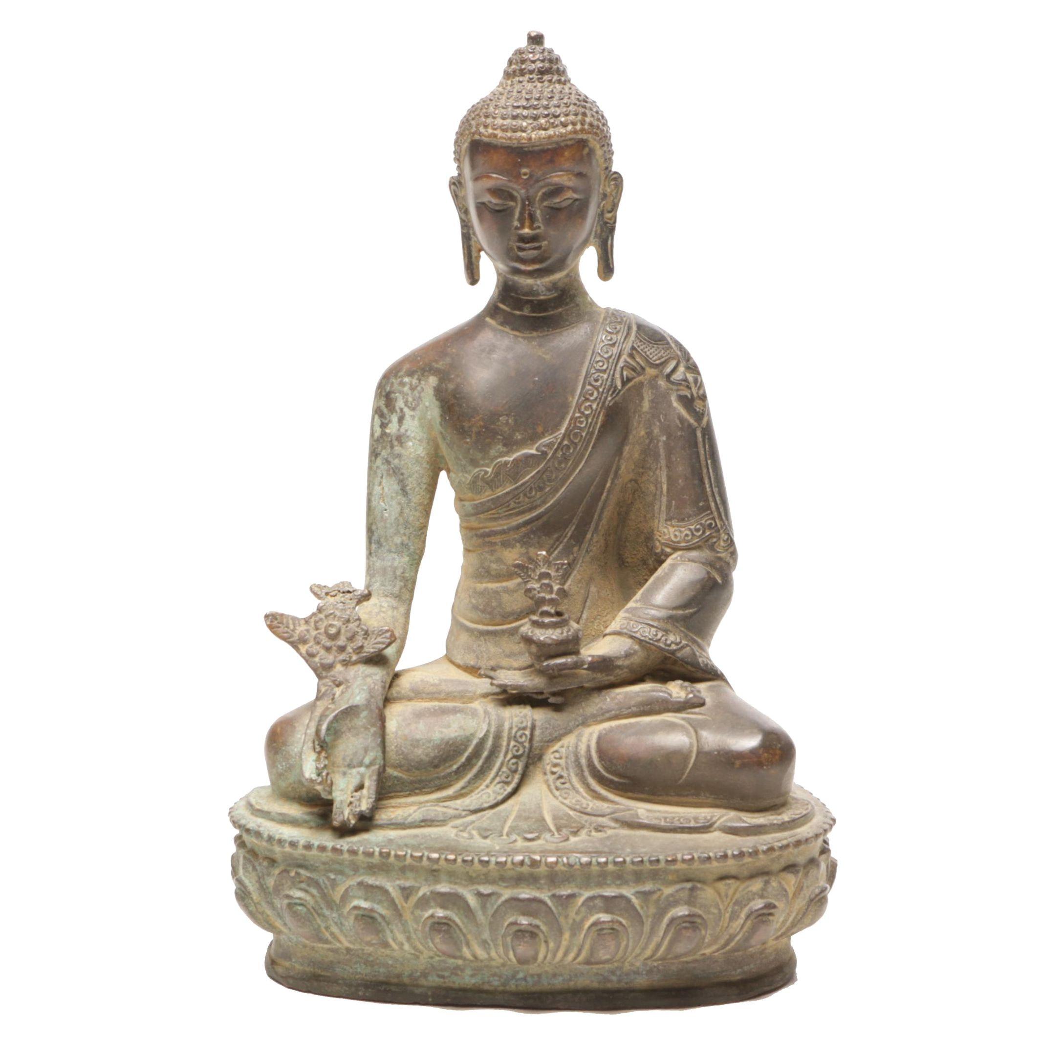 Sino-Tibetan Cast Brass Buddha Figurine