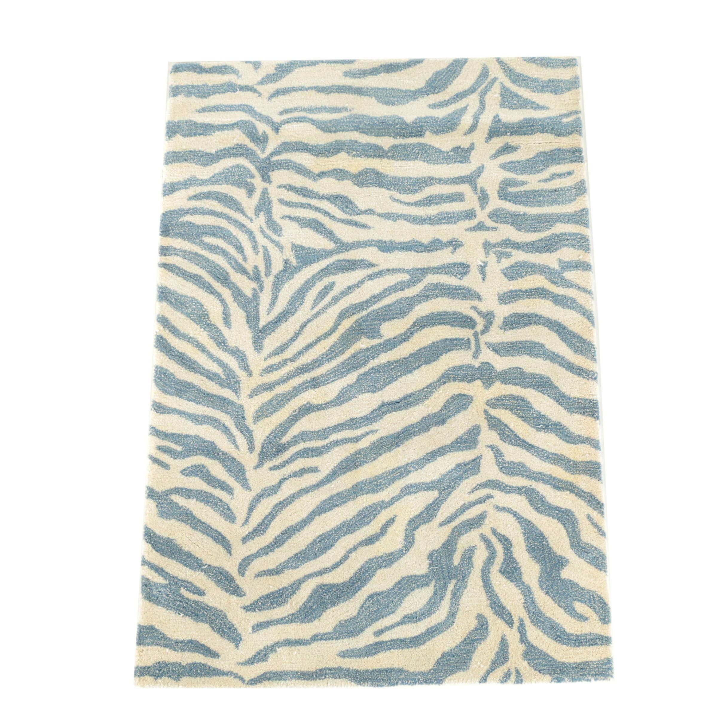 Tufted Indian Zebra Print Wool Blend Area Rug