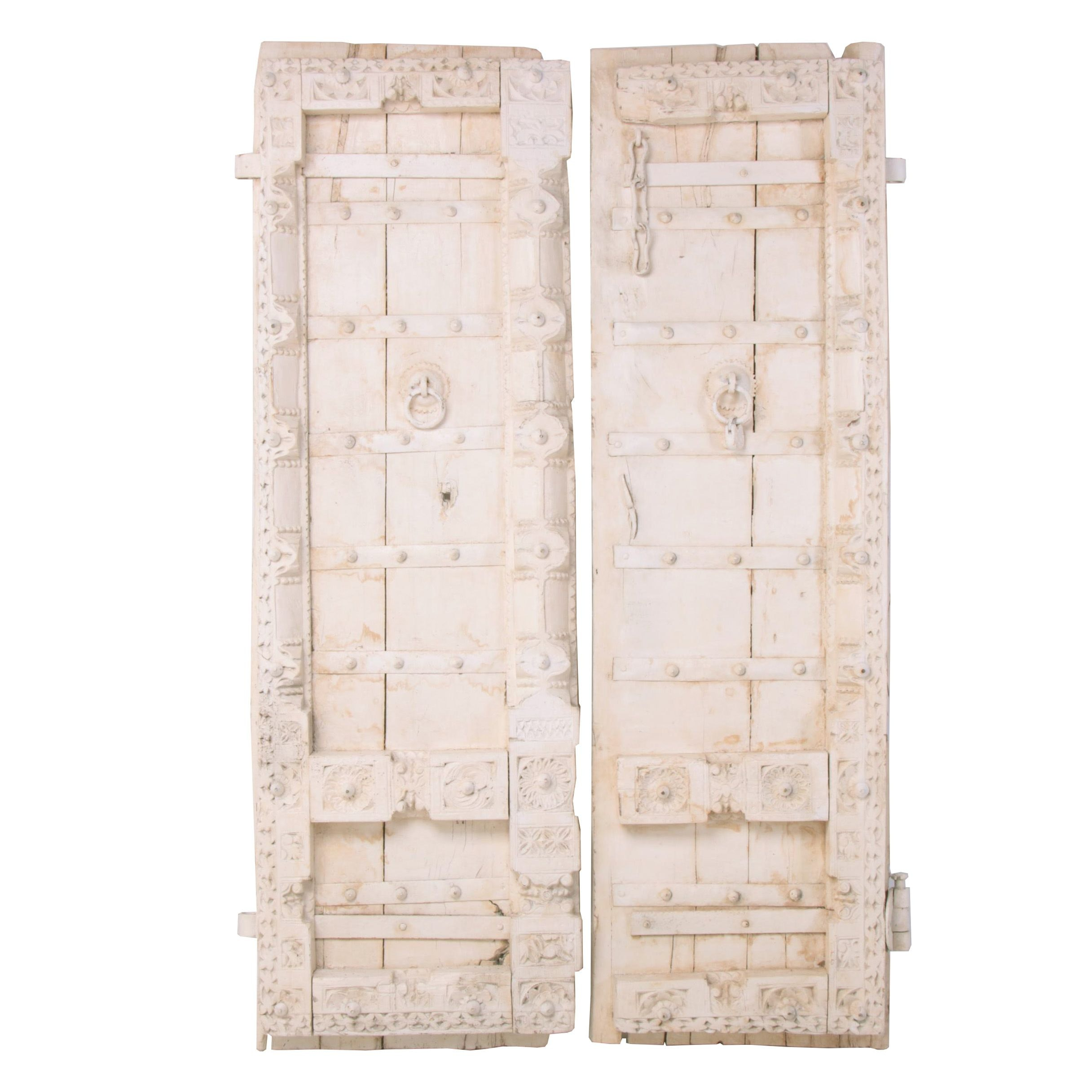 Reclaimed Indian Carved and Painted Hardwood Doors, 20th Century