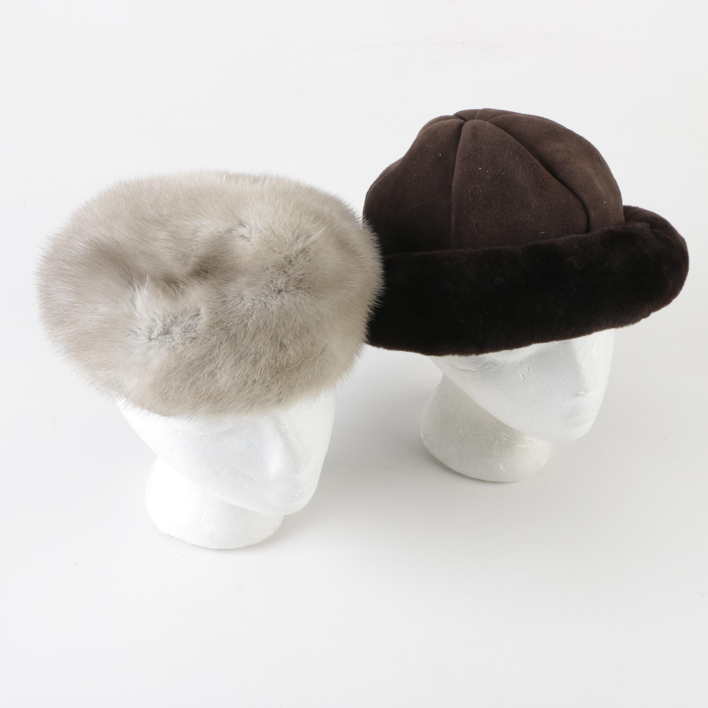 Lapaul's Mink Fur and Aston Brown Shearling Hats