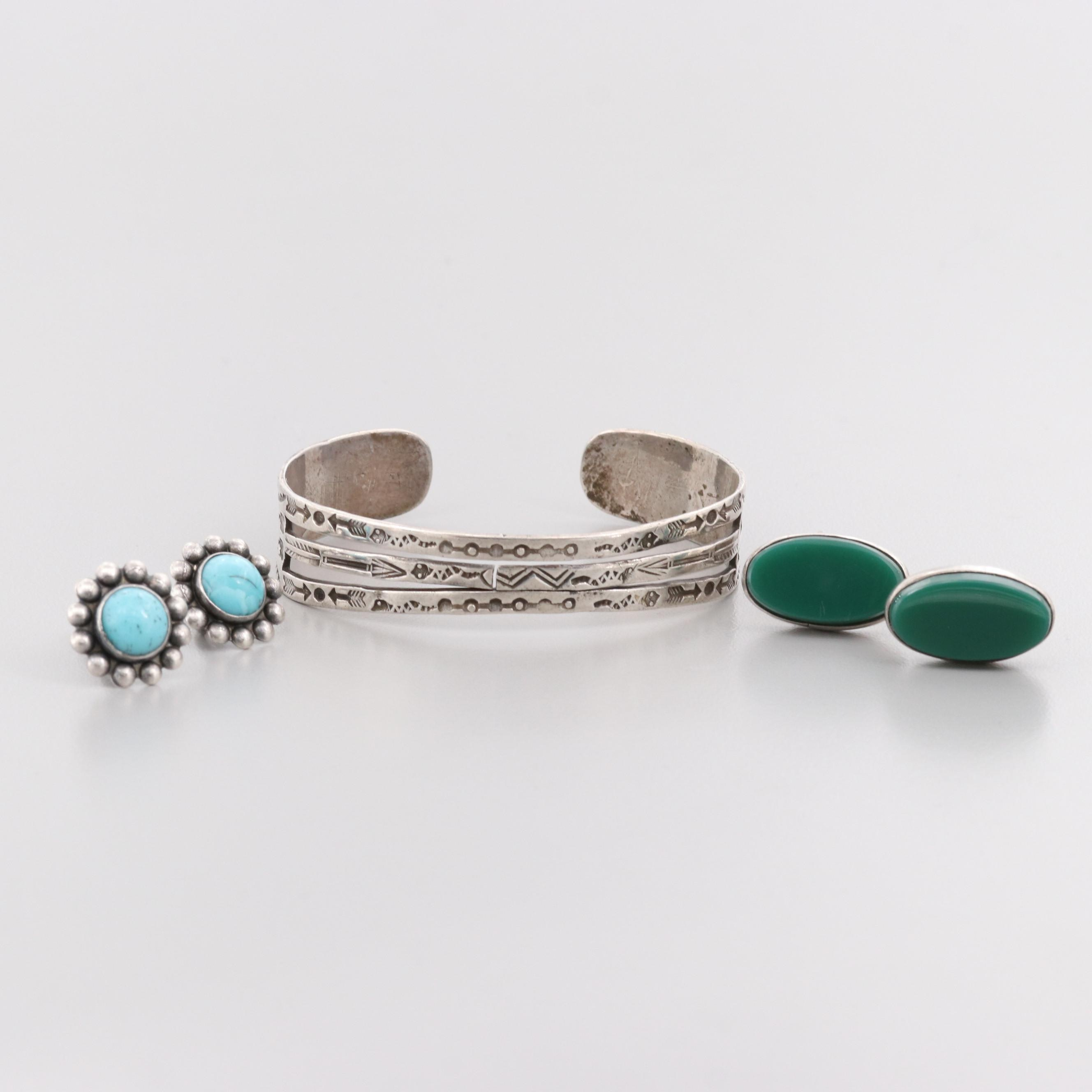 Southwestern and Mexican Sterling Silver Jewelry Including Glass