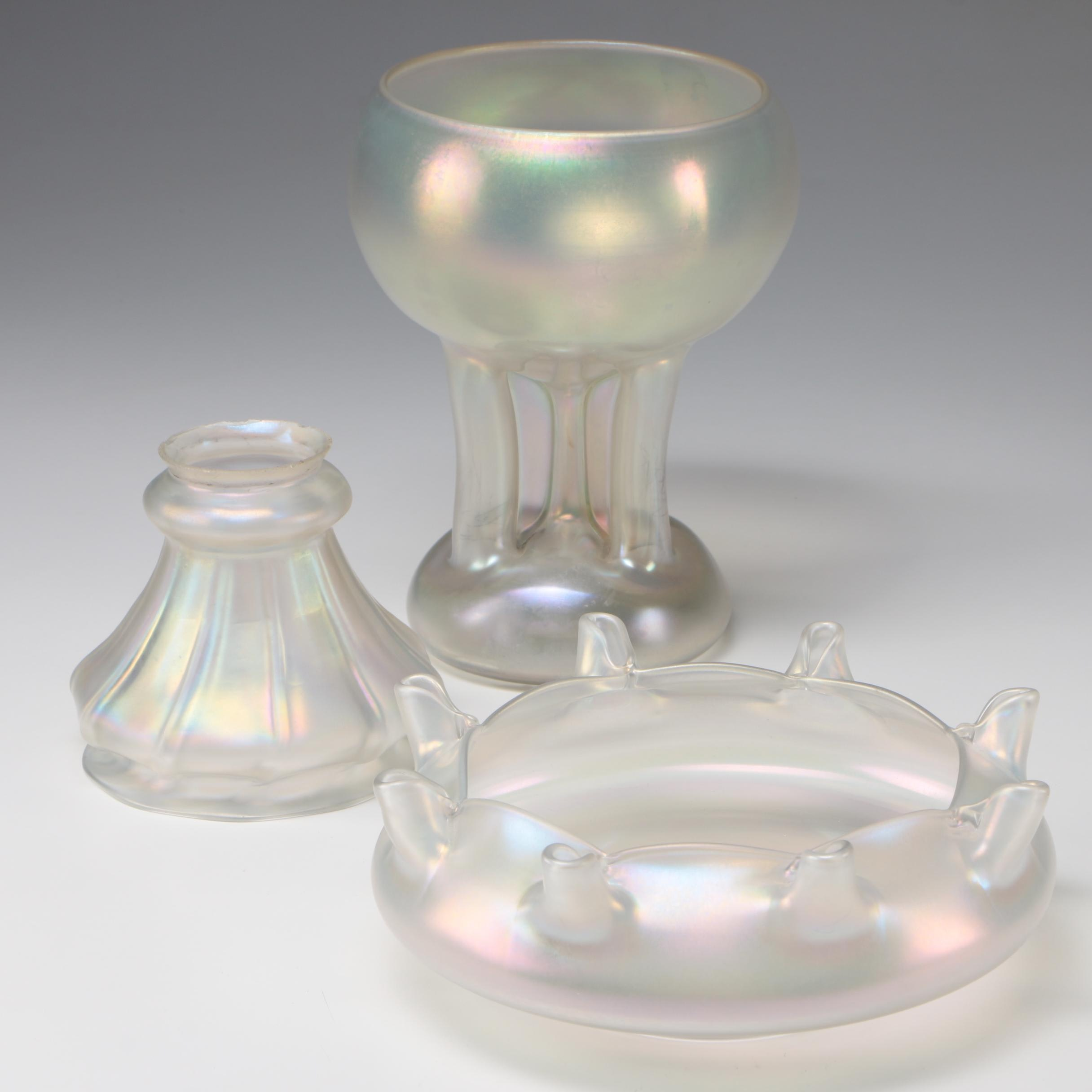 Steuben Verre de Soie Art Glass Vase, Bowl, and Shade, 1903 - 1933