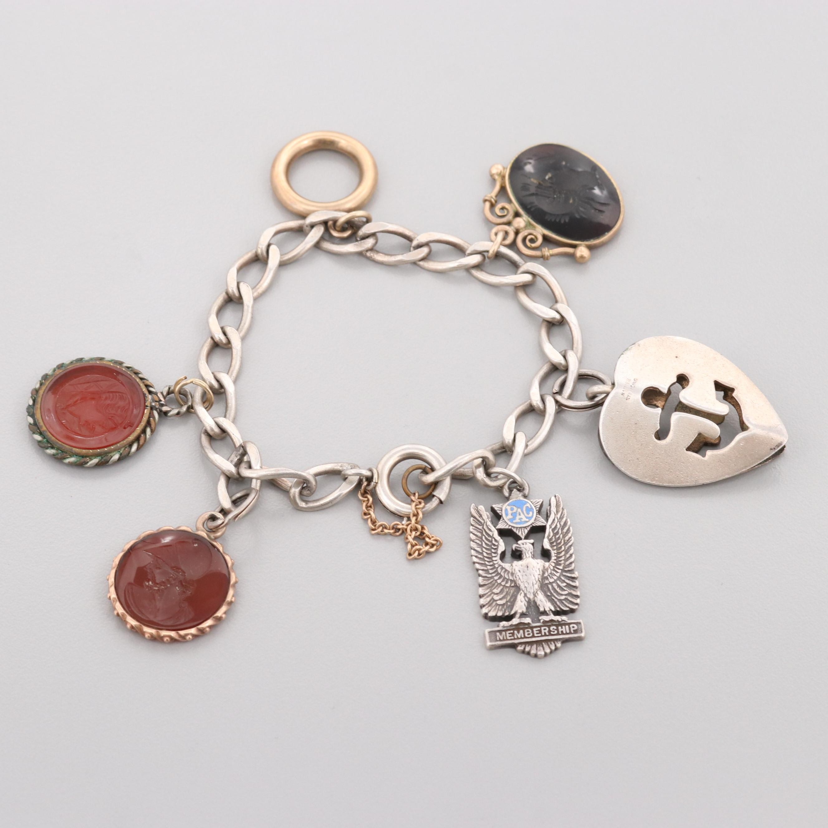 Vintage Sterling Charm Bracelet Including Carnelian, Sard and Gold Tone Charms