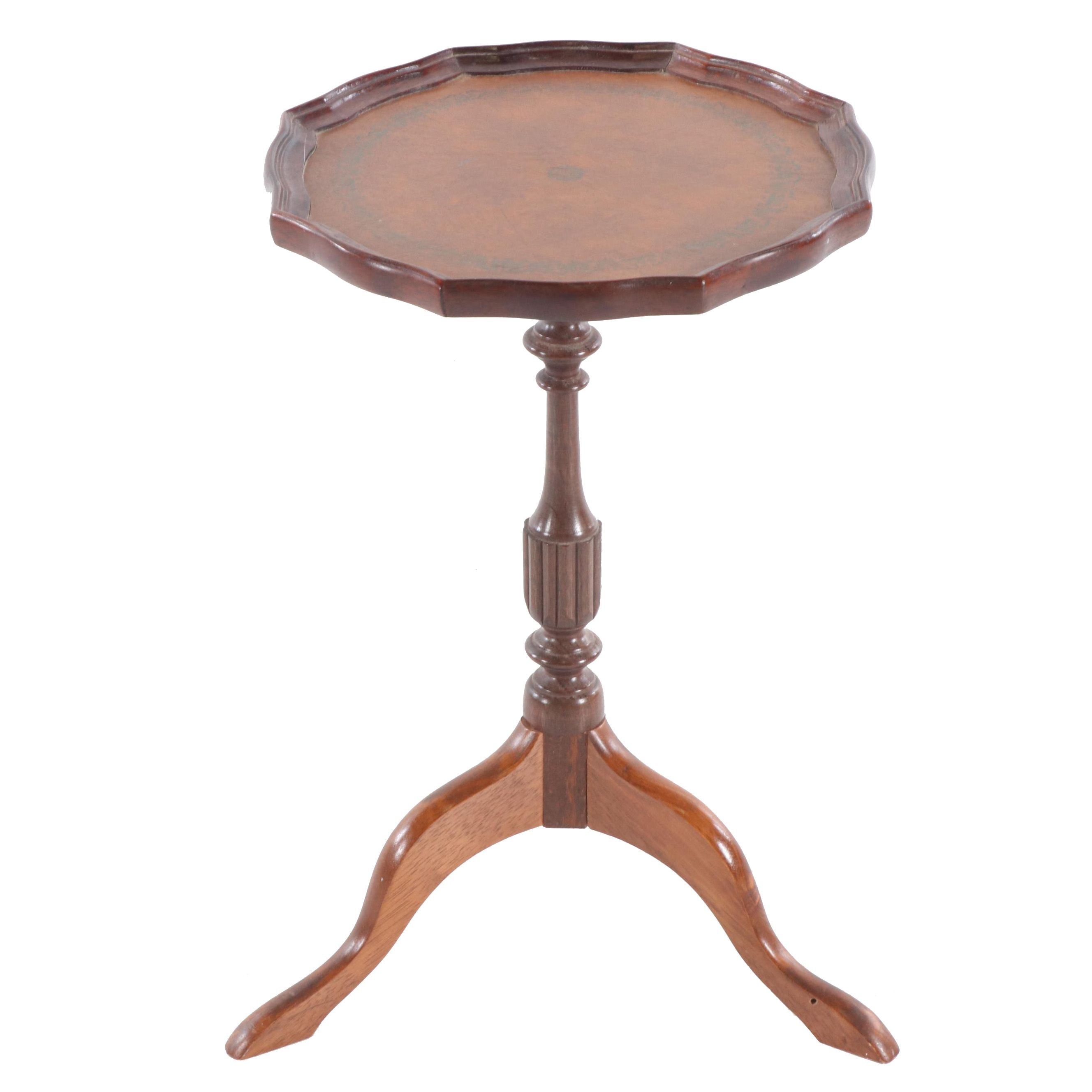 Wooden Leather Top Accent Table