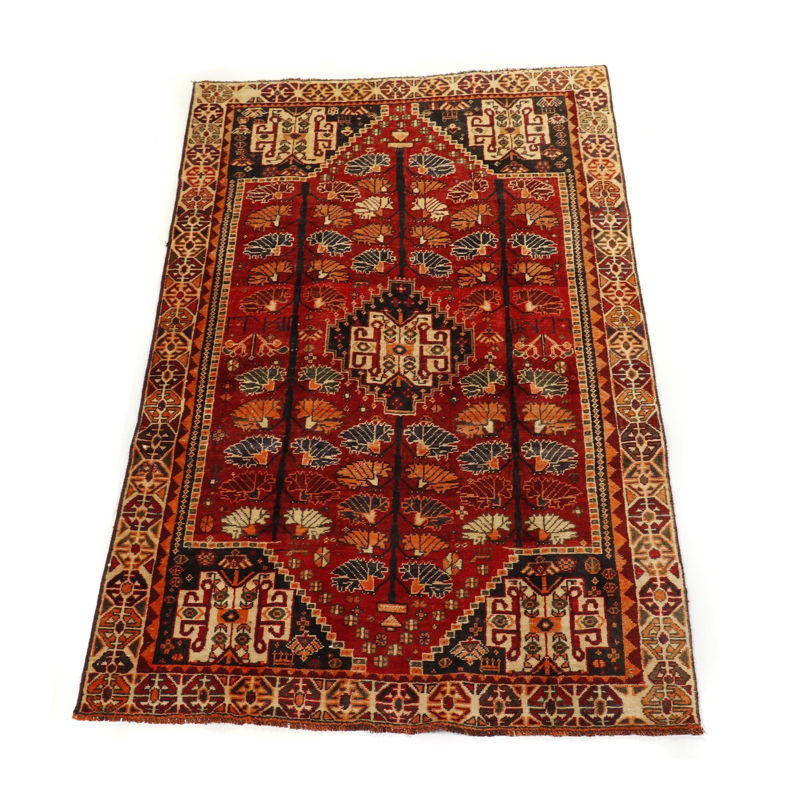 "Hand-Knotted Persian Qashqai ""Tree of Life"" Wool Rug"