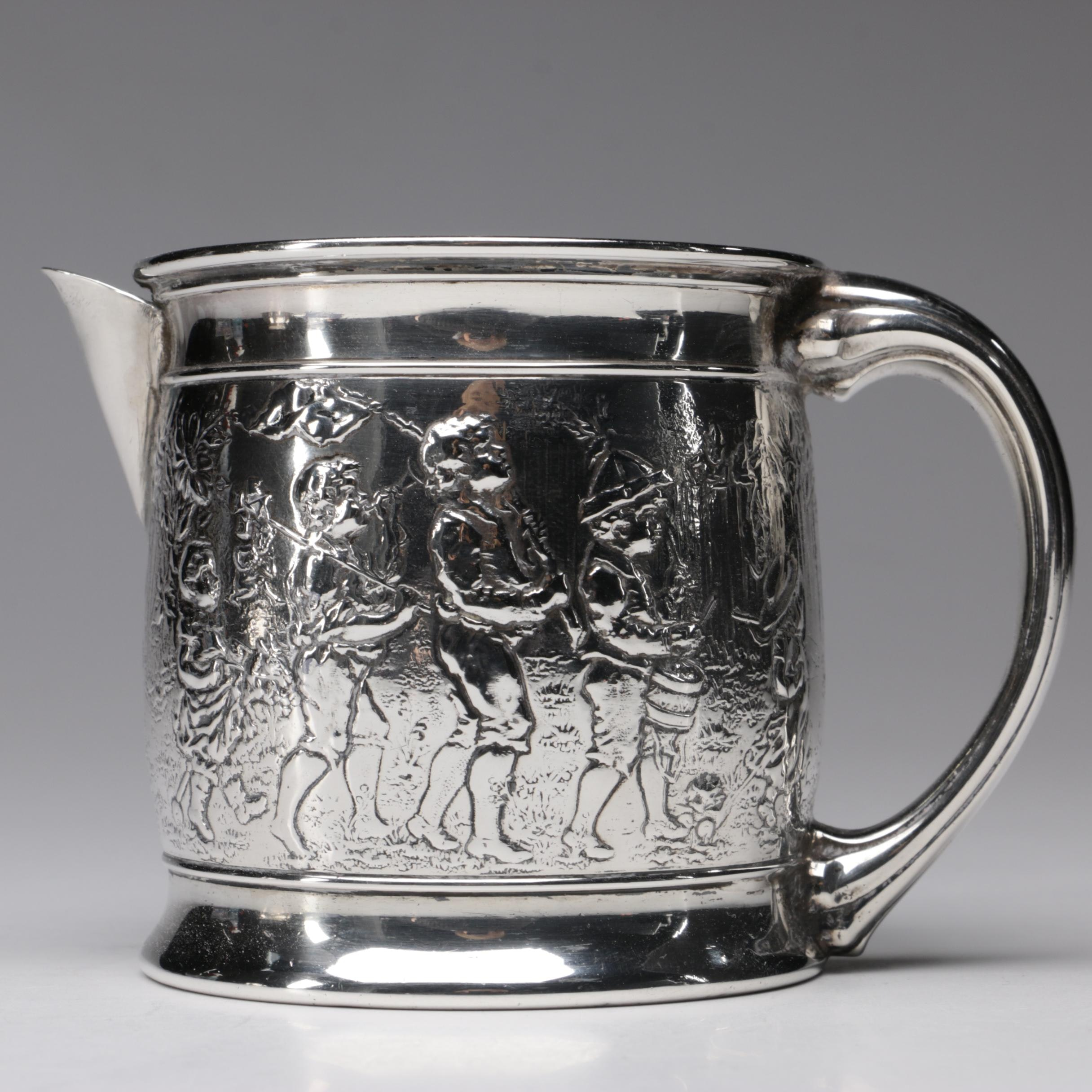 British Import Sterling Silver Pitcher with Children on Parade Motif