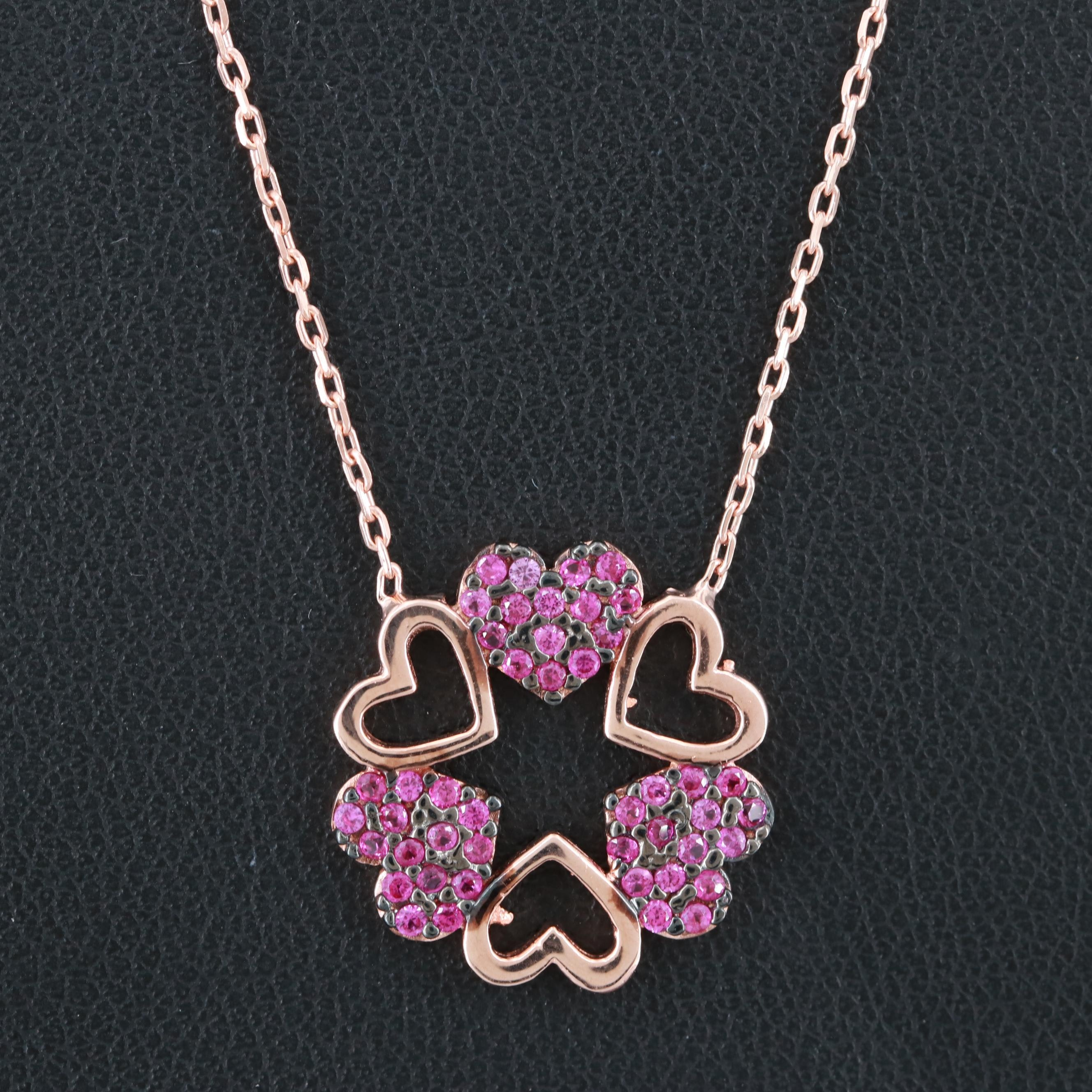 Rose Gold Wash on Sterling Silver Synthetic Pink Sapphire Hearts Necklace