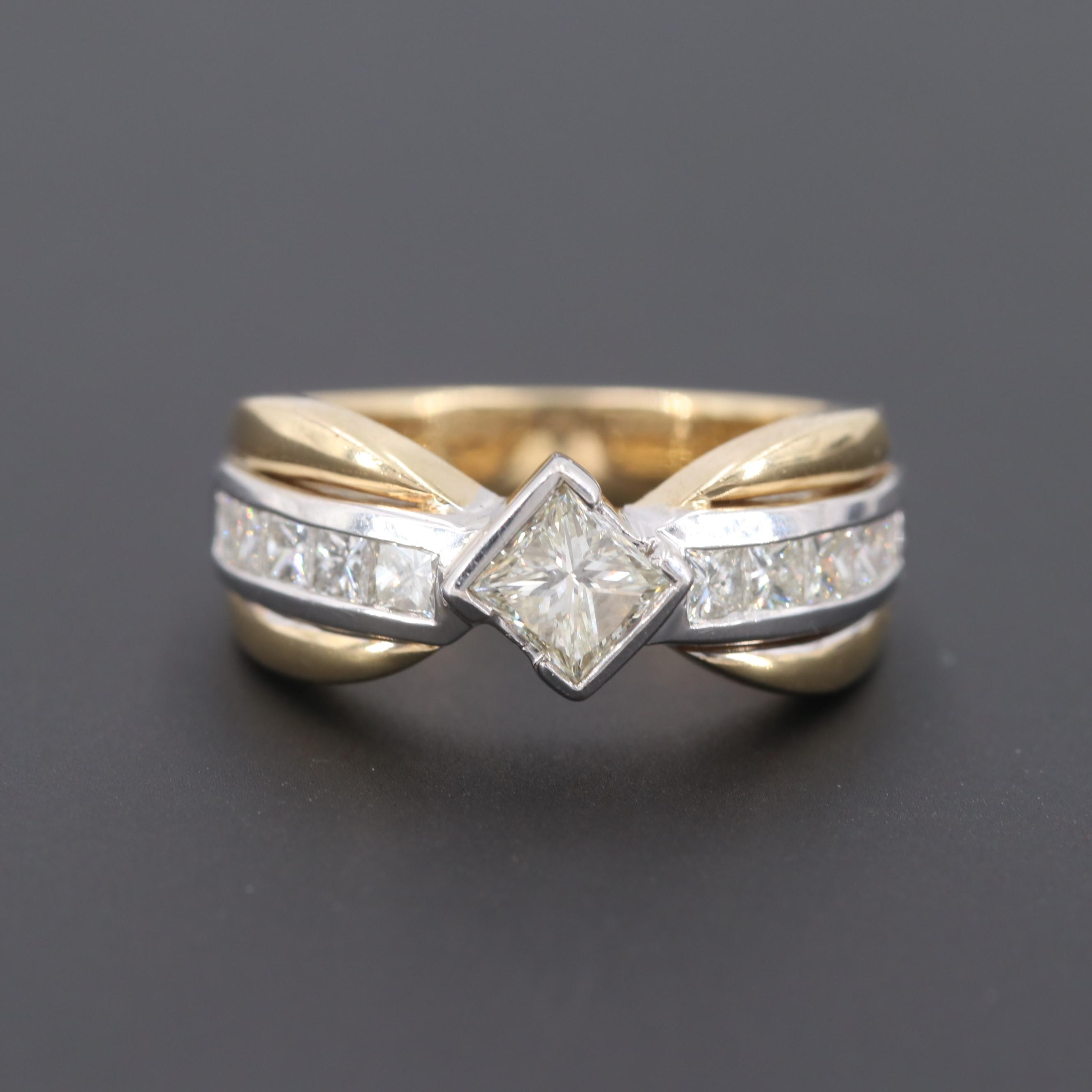 14K Yellow and White Gold 1.23 CTW Diamond Ring