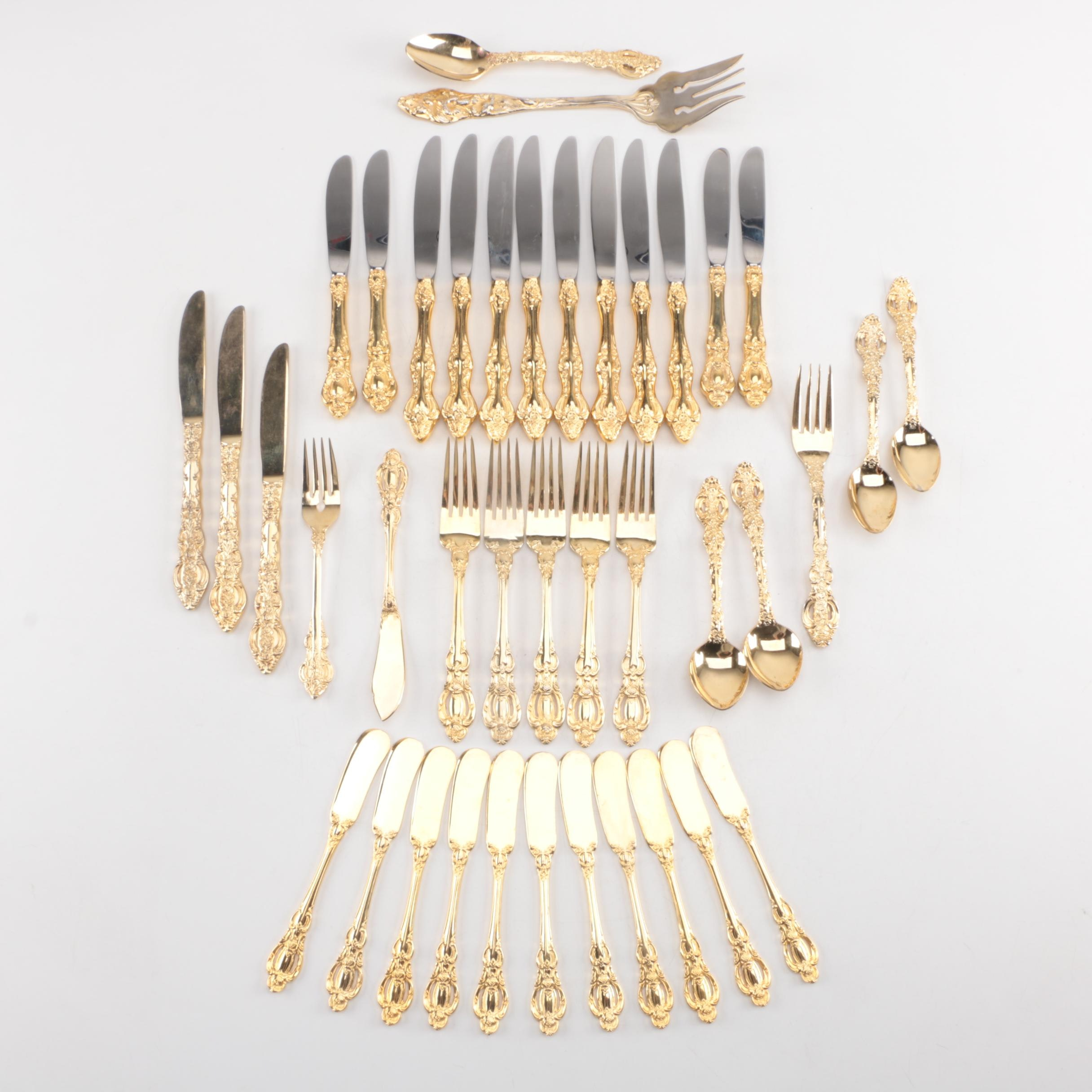 Gold Electroplated and Stainless Flatware Featuring Georgian House