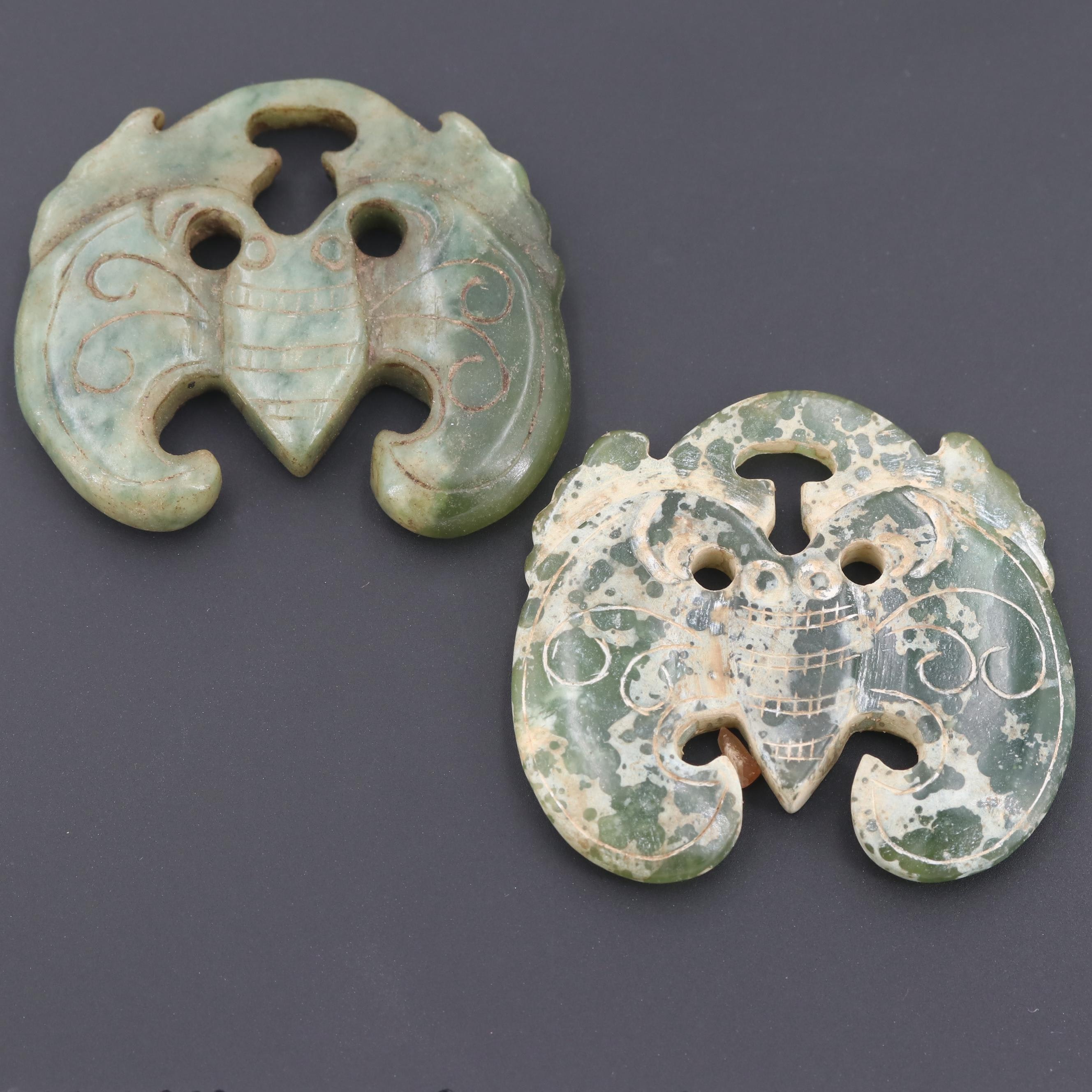 Chinese Bowenite in Matrix Carved Pendants