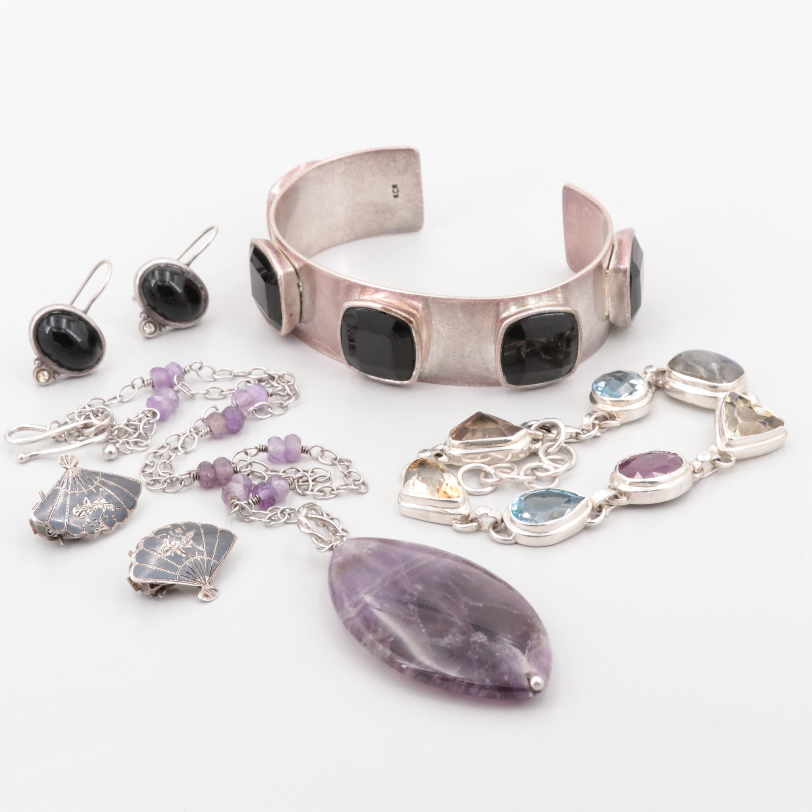 Sterling Silver and Silver Tone Multi-Gemstone Jewelry Including Amethyst