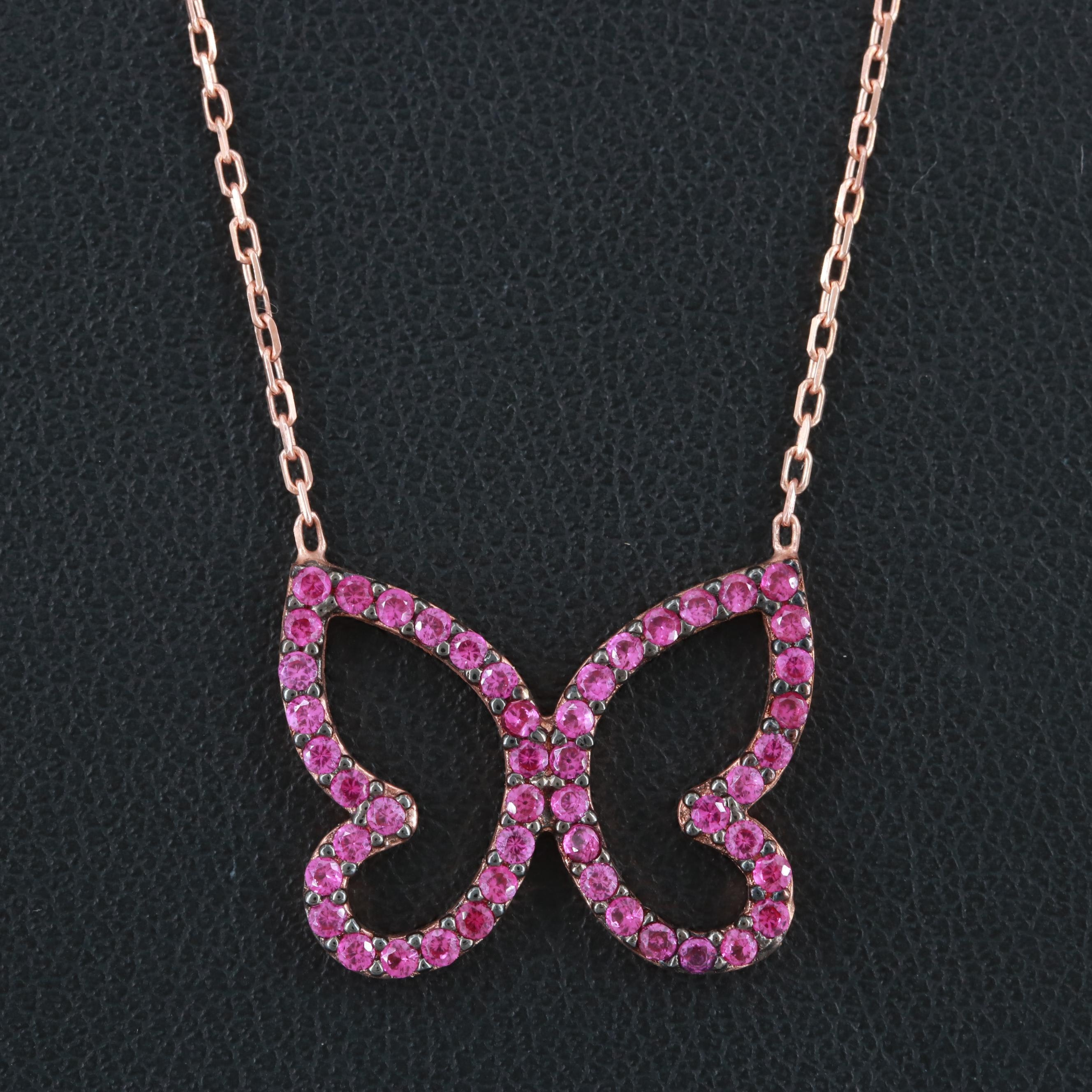Rose Gold Wash on Sterling Silver Synthetic Pink Spinel Necklace