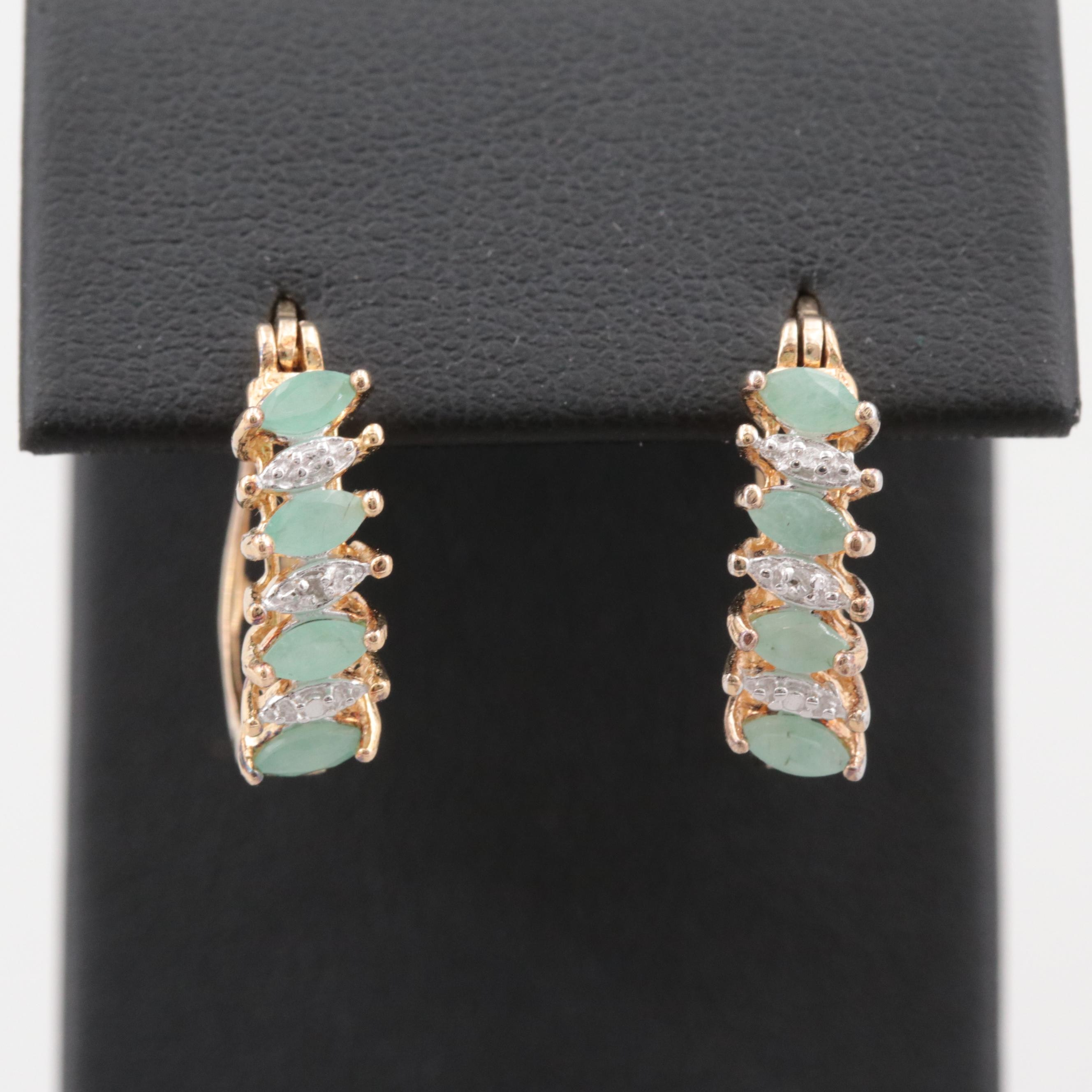 Gold Wash on Sterling Silver Emerald and Diamond Earrings