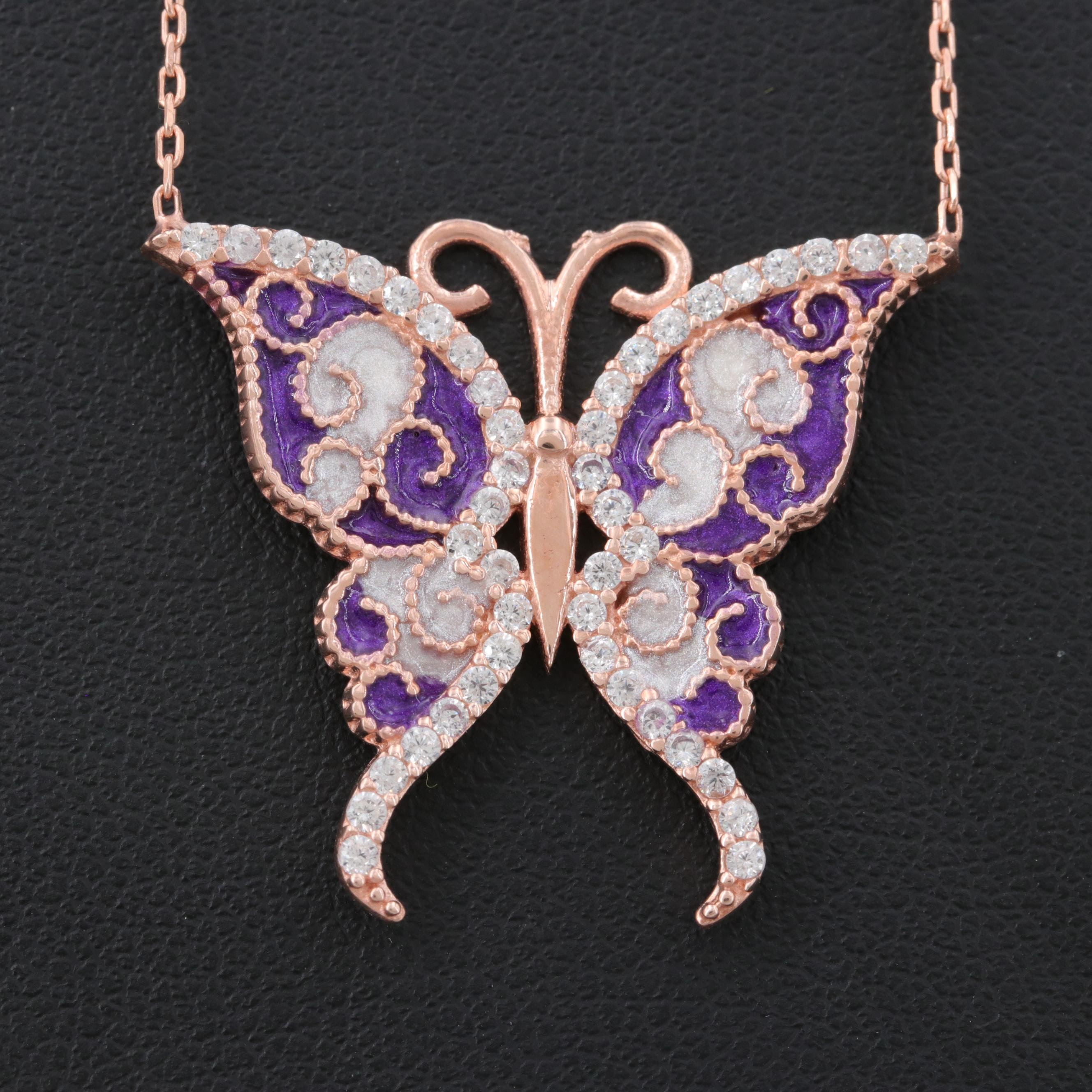 Rose Gold Wash on Sterling Silver Cubic Zirconia Butterfly Necklace with Enamel