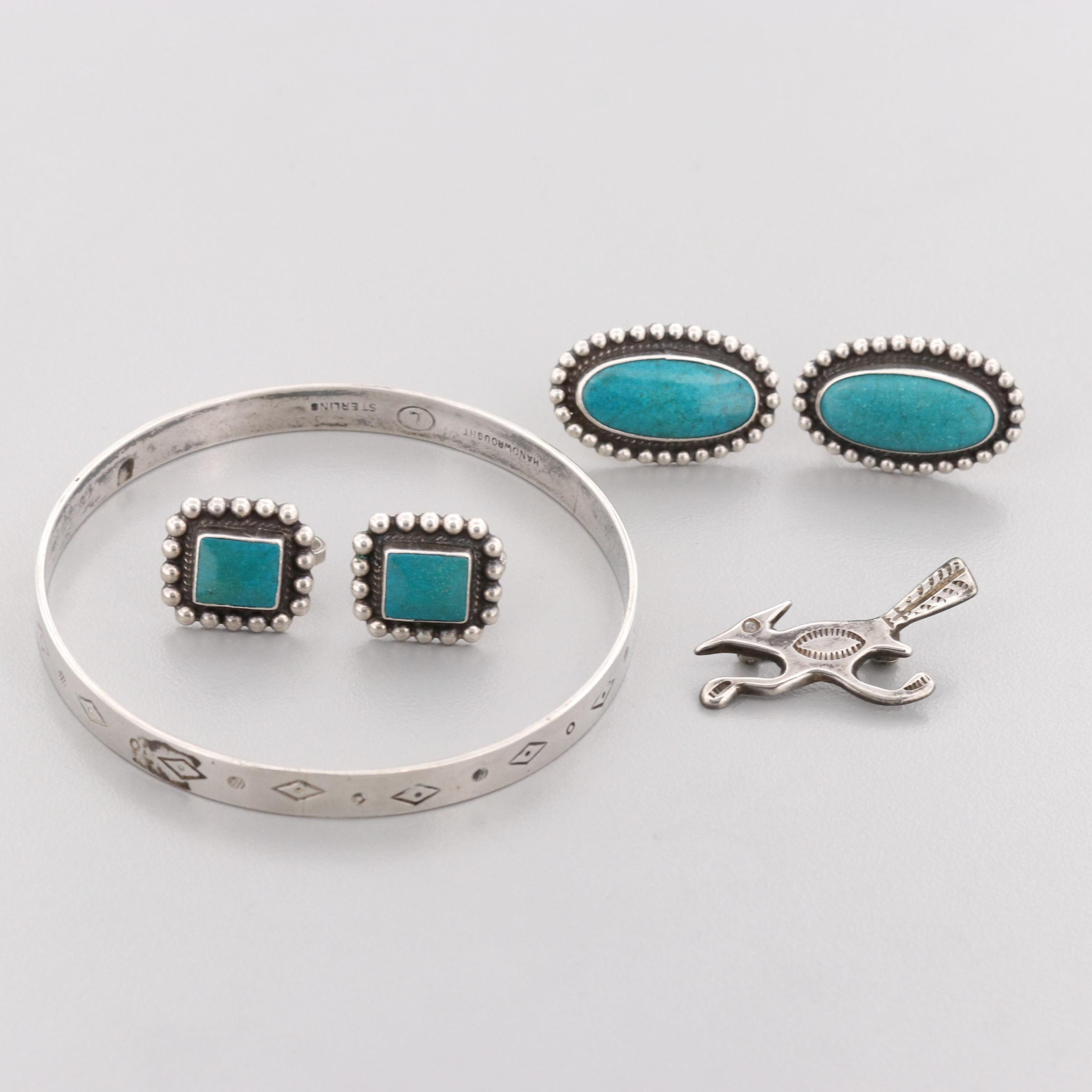 Southwestern Sterling Silver Jewelry Including Reconstituted Turquoise