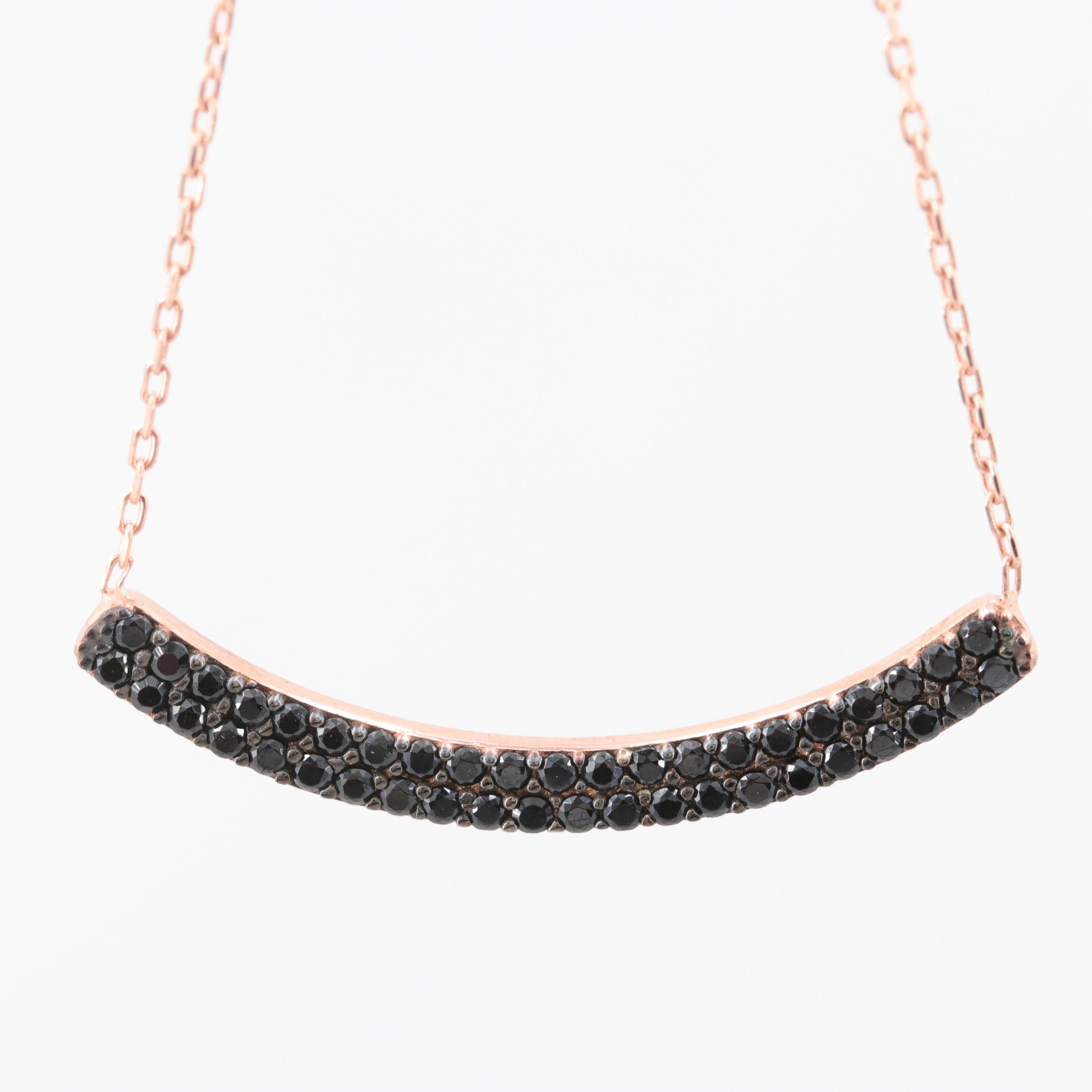 Rose Gold Wash on Sterling Silver Black Cubic Zirconia Bar Necklace