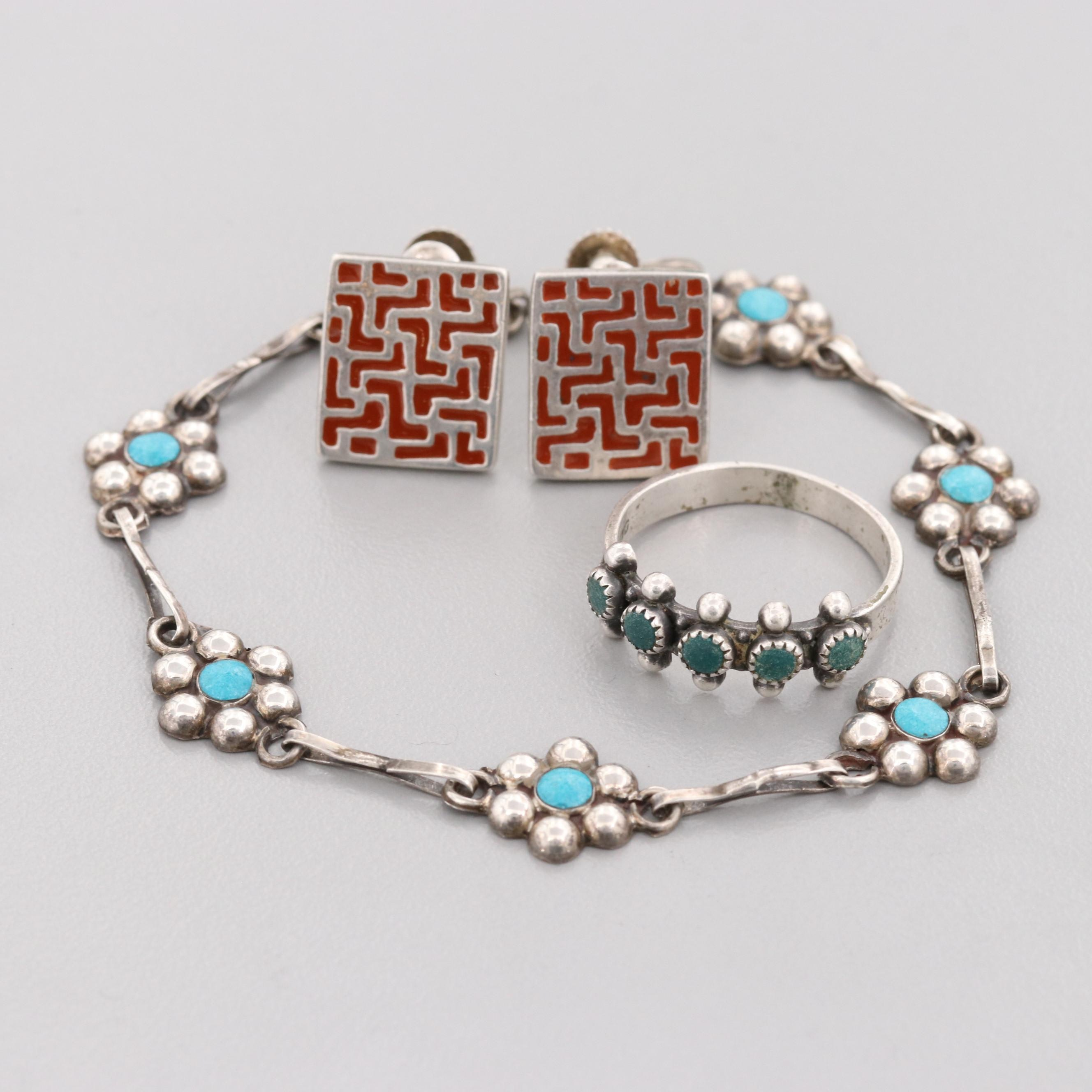 Vintage Mexican Sterling Reconstituted Turquoise and Enamel Jewelry