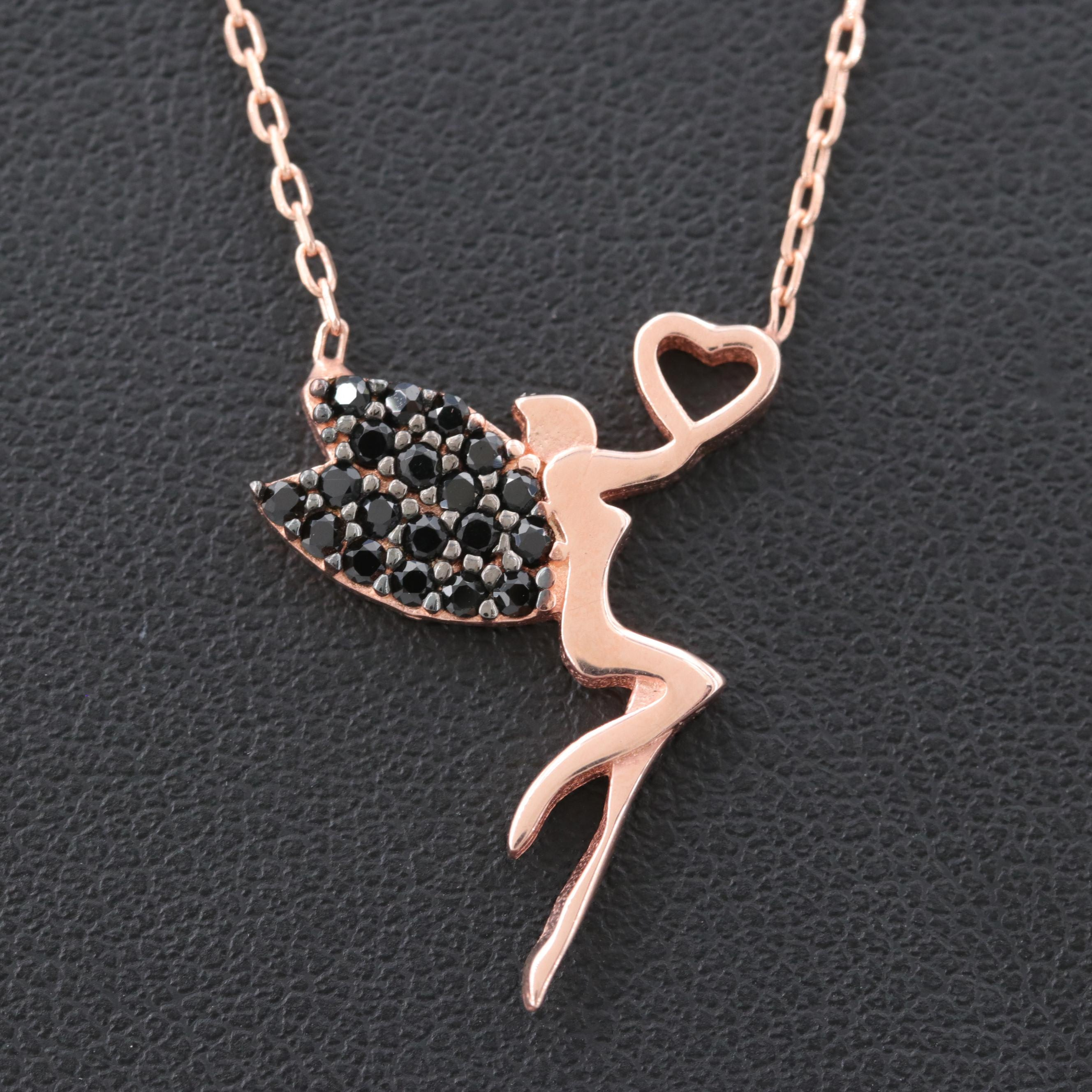 Rose Gold Wash on Sterling Silver Black Cubic Zirconia Fairy and Heart Necklace
