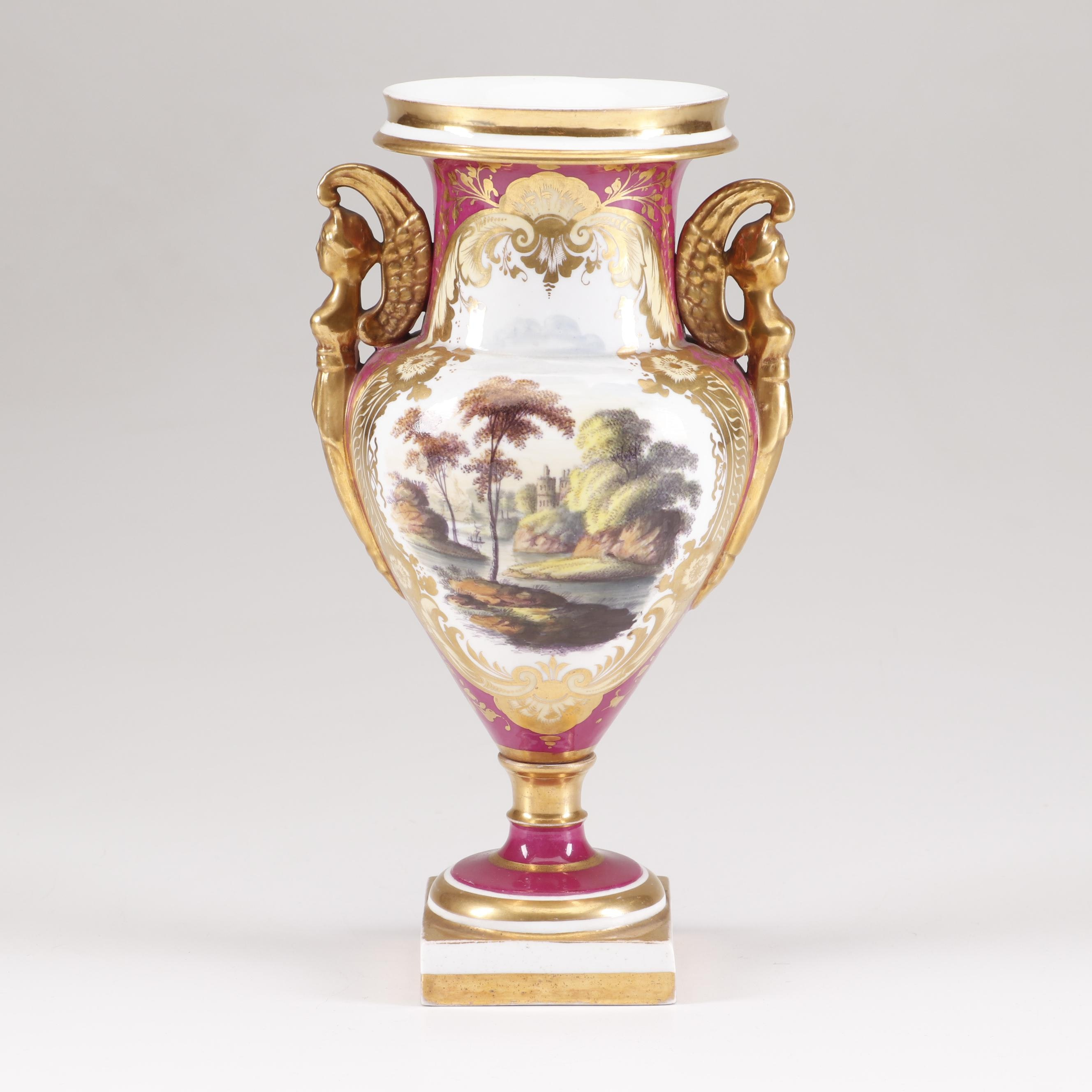 Hand-Painted Bolted Sèvres Style Footed Vase, Late 19th to Early 20th Century