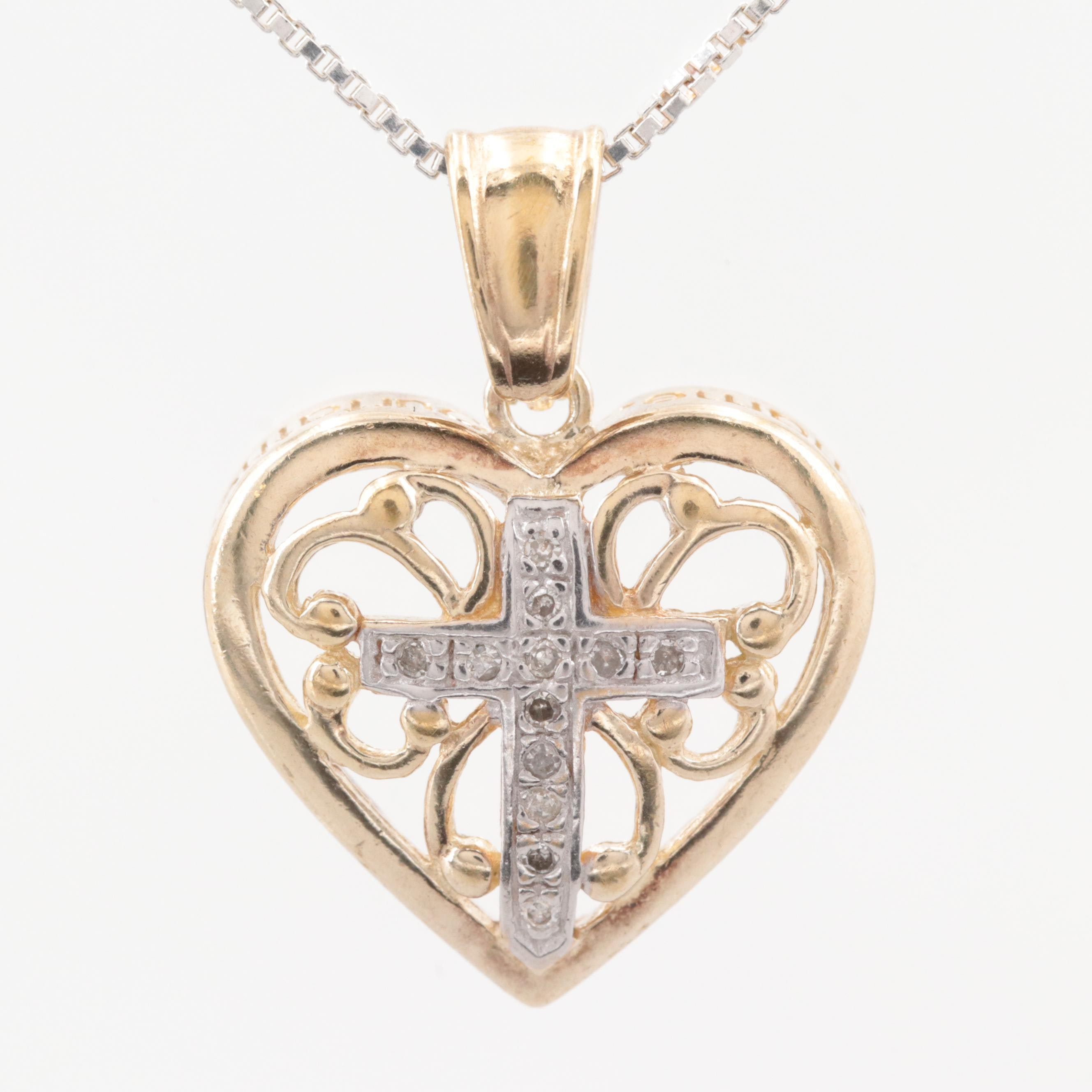Gold Wash on Sterling Silver Diamond Heart Pendant with Sterling Silver Necklace