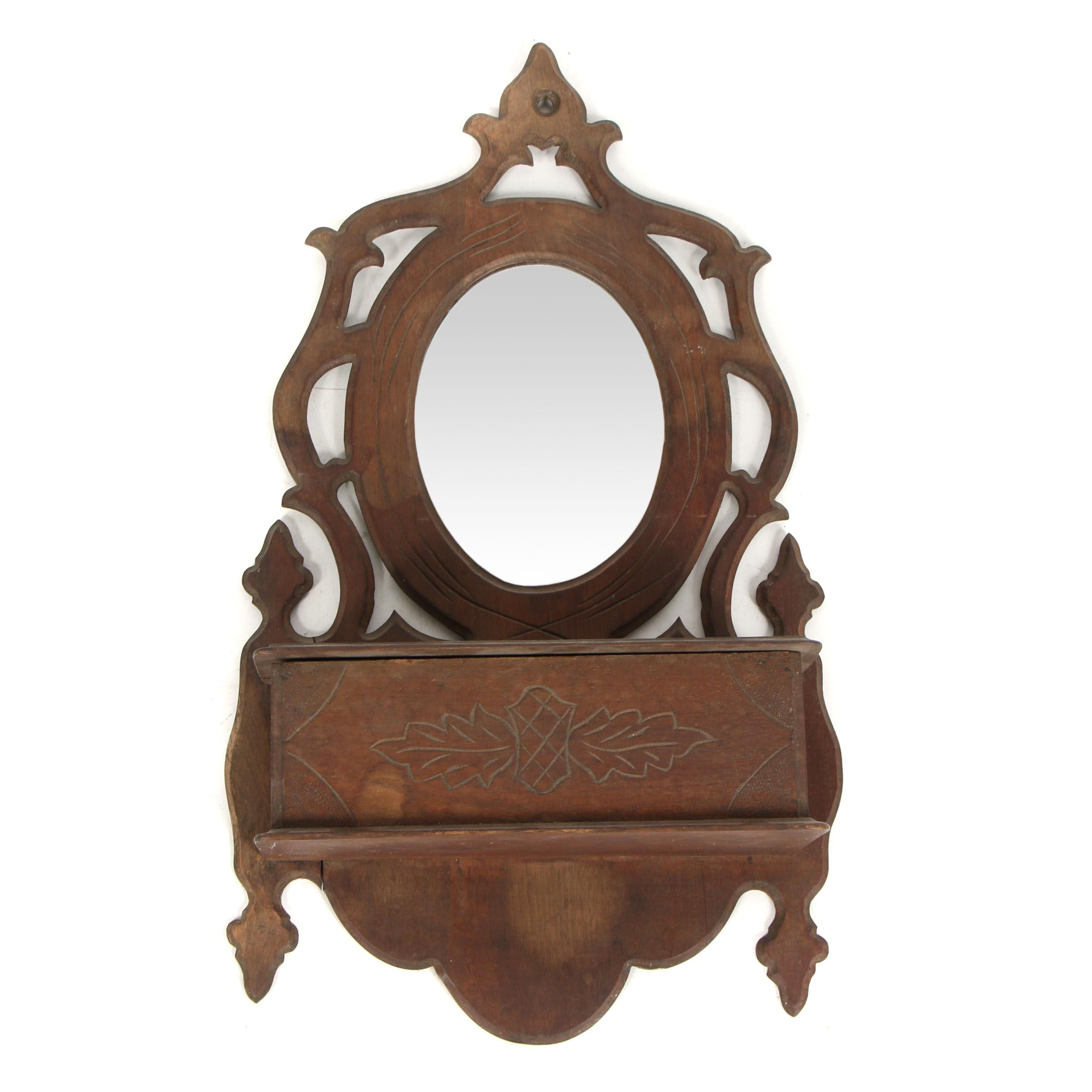 Victorian Walnut Wall Box with Mirror, Late 19th Century