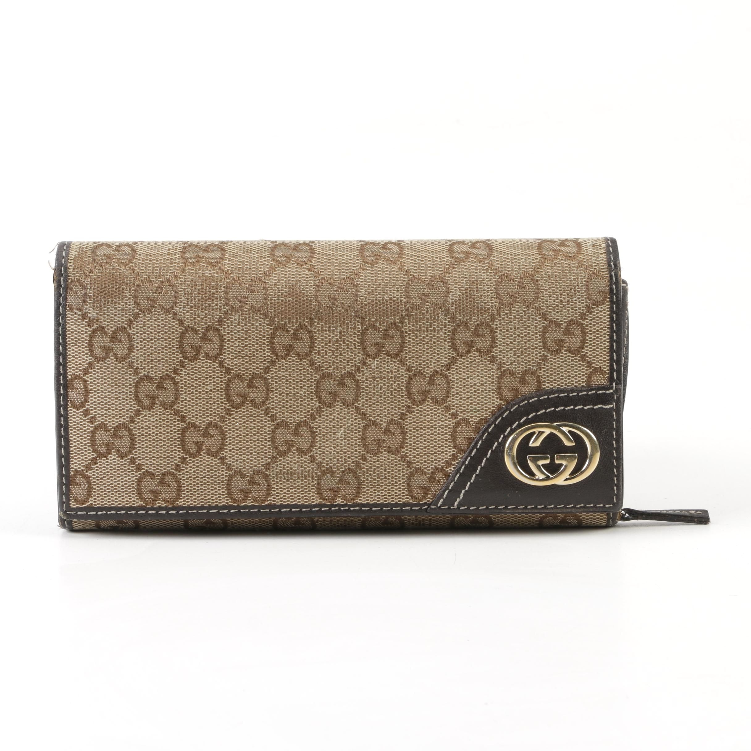 Gucci Supreme Canvas Continental Wallet Clutch