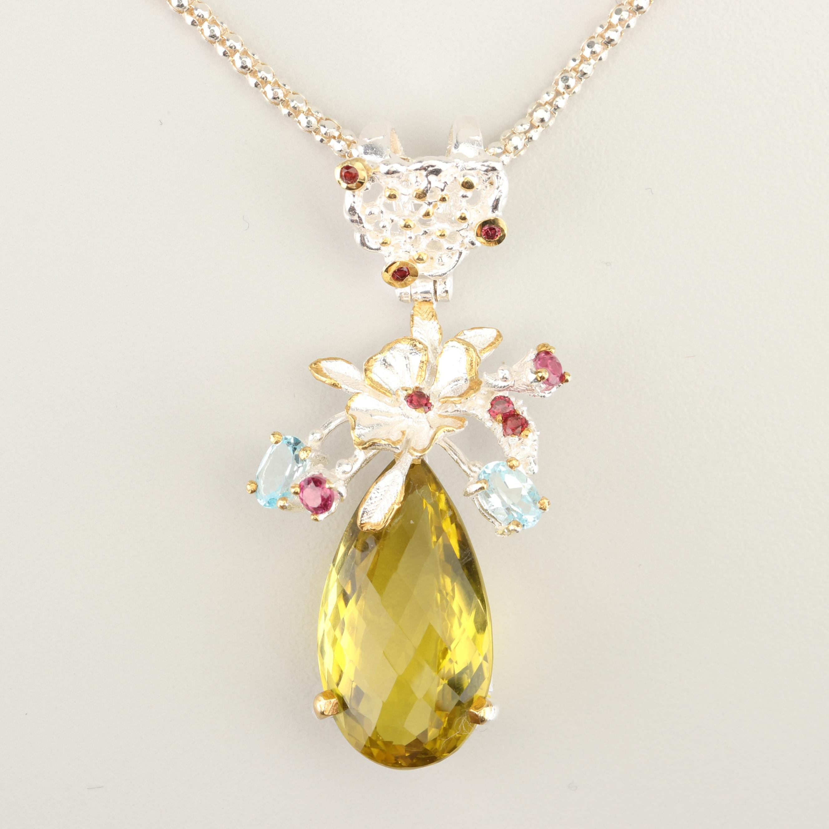 Sterling Silver 21.50 CT Citrine, Blue Topaz, and Rhodolite Garnet Necklace