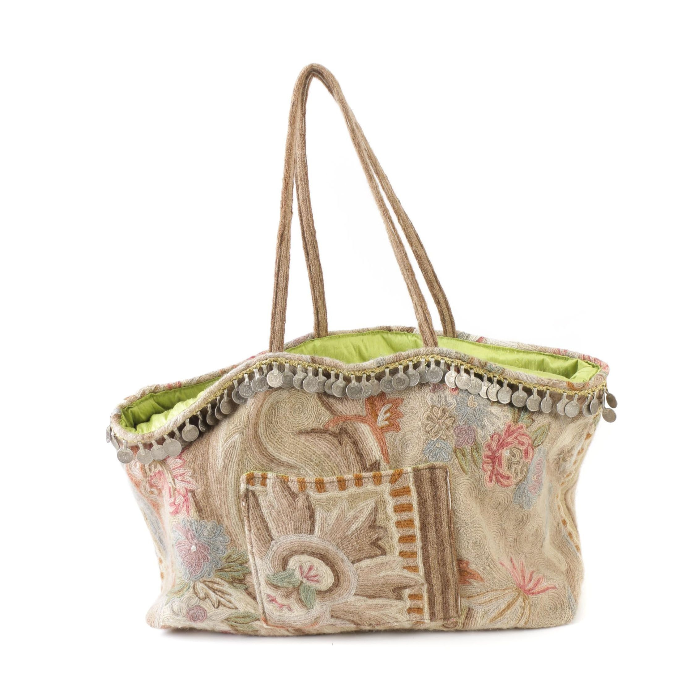 Boho Style Floral Tote Bag with Pakistani Paisa Coin Accents