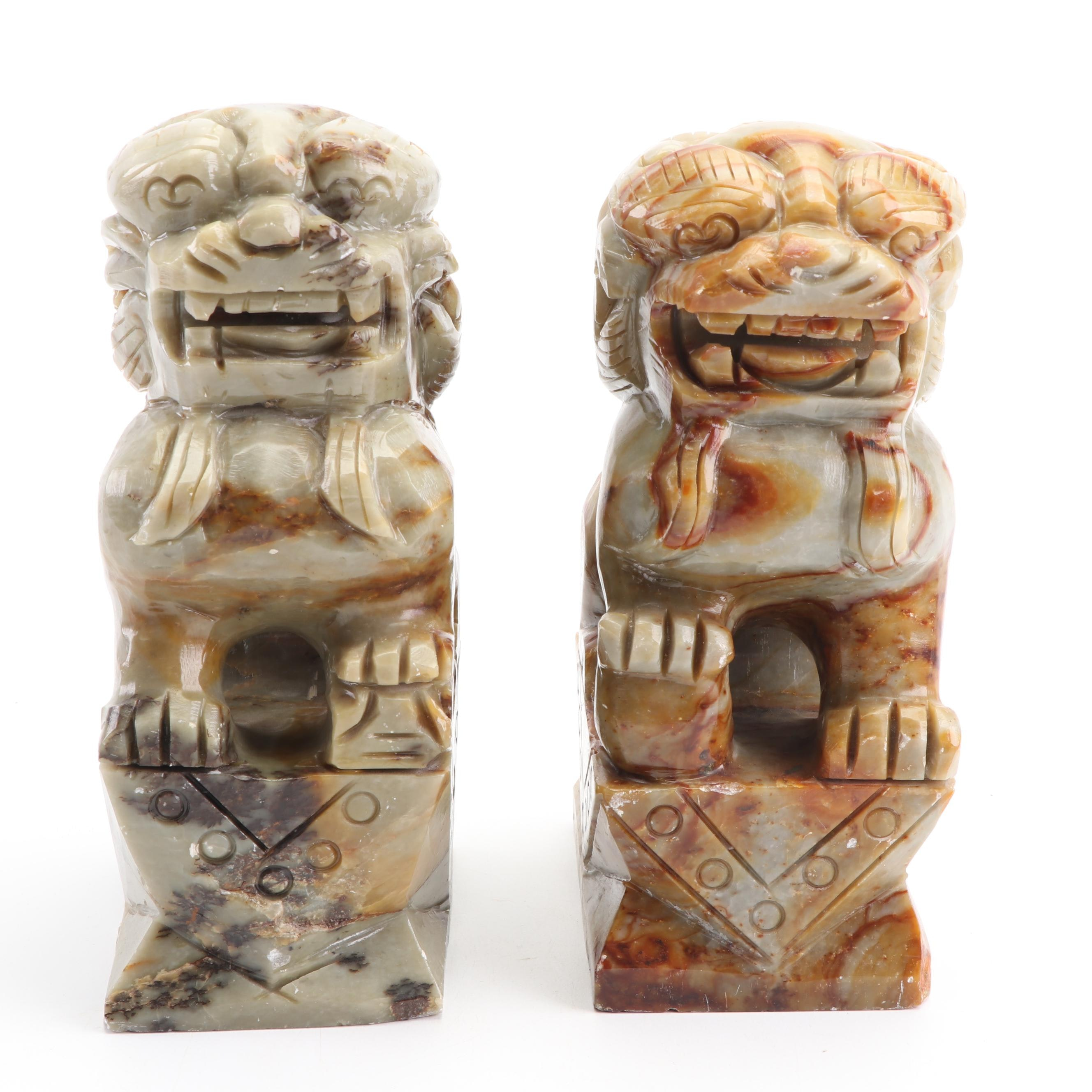 Chinese Style Rhyolite Guardian Lion Statues