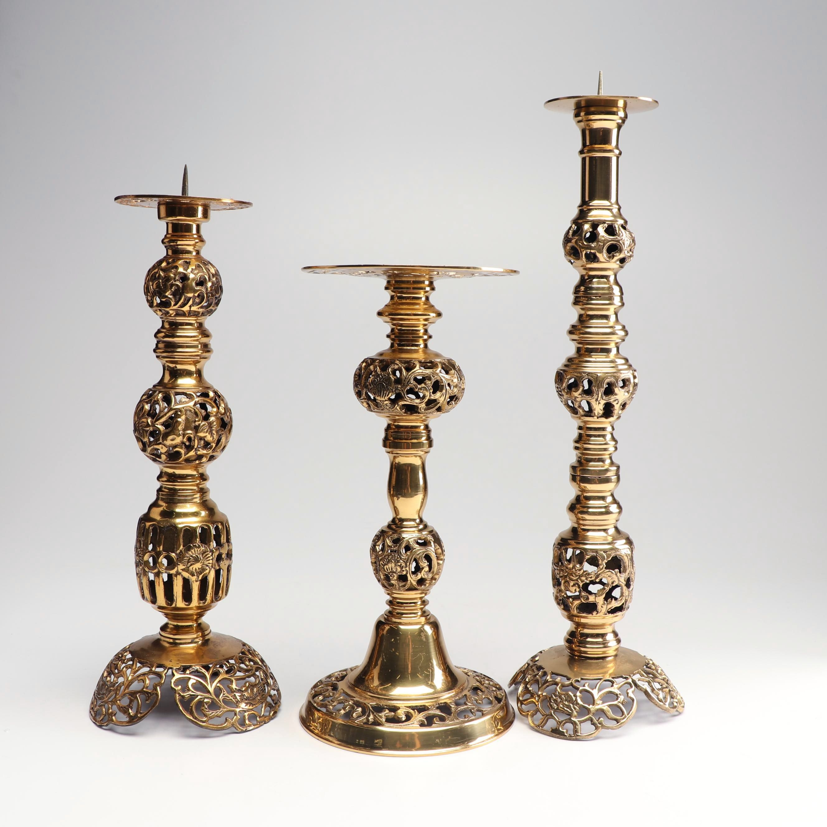 Reticulated Cast Brass Pricket and Pillar Stand Candlesticks