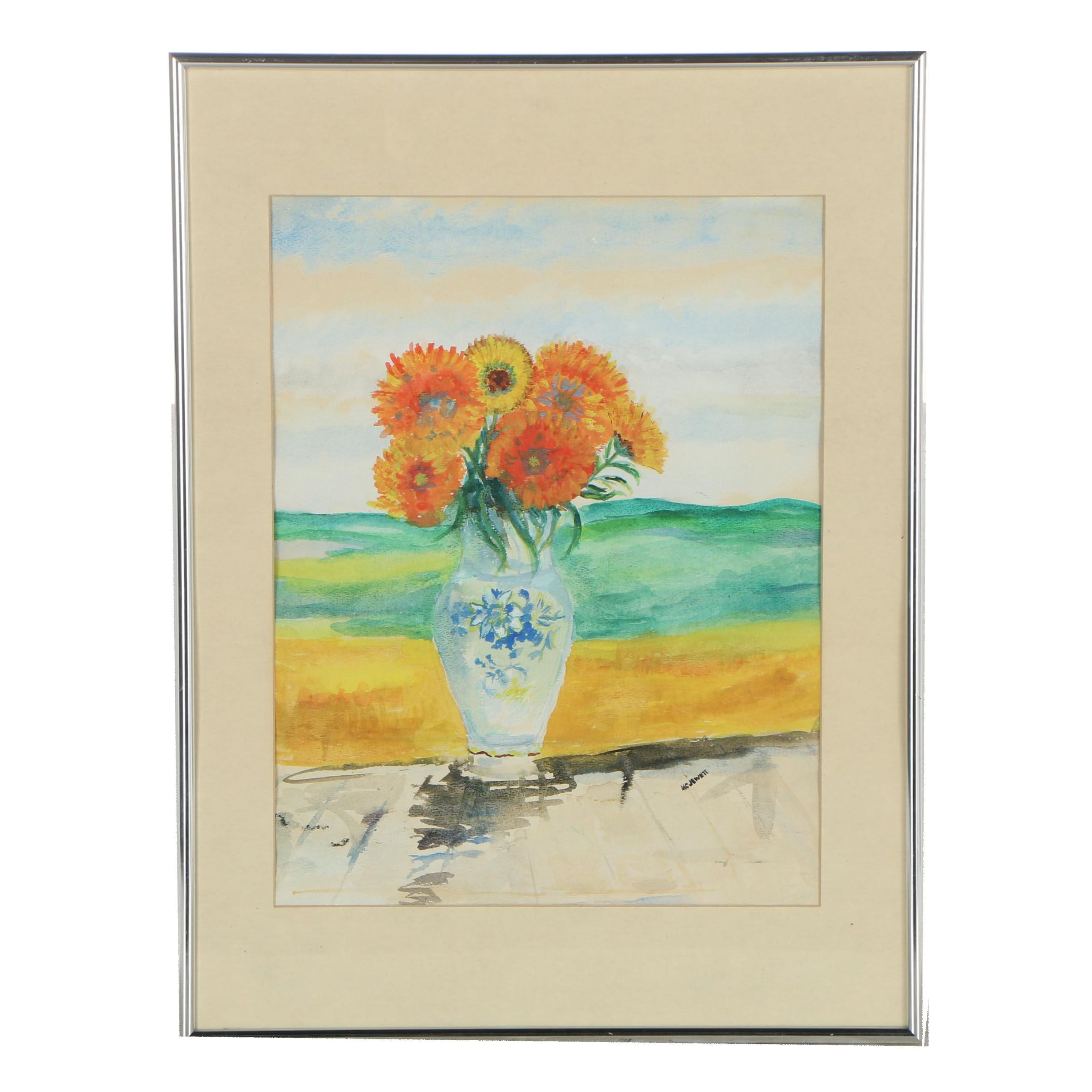 Late 20th Century Watercolor Painting of Floral Still Life