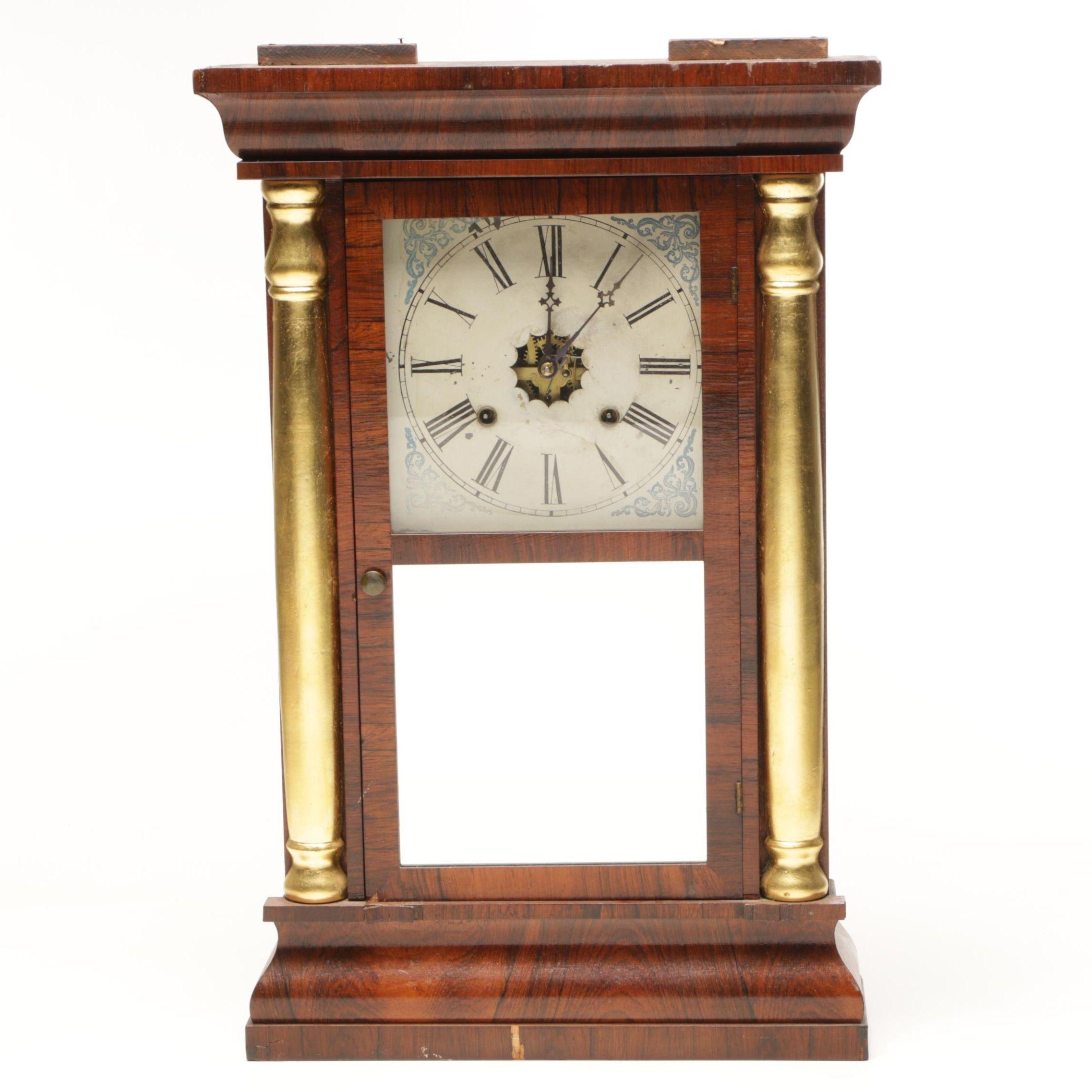 Waterbury Eight Day 30 Hour Column and Cornice Cased Shelf Clock