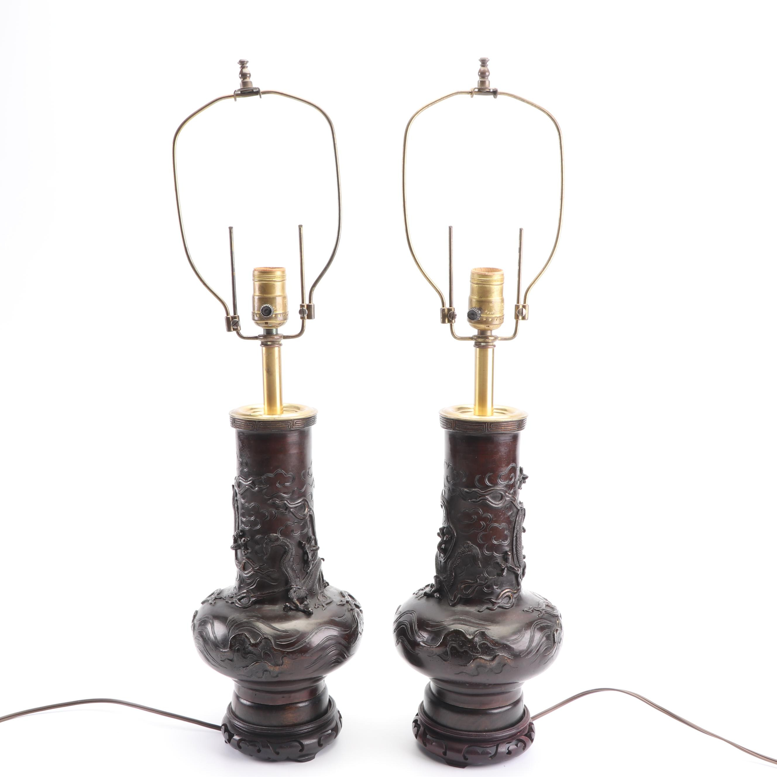 Japanese Carved Wood Table Lamps, Mid-20th Century