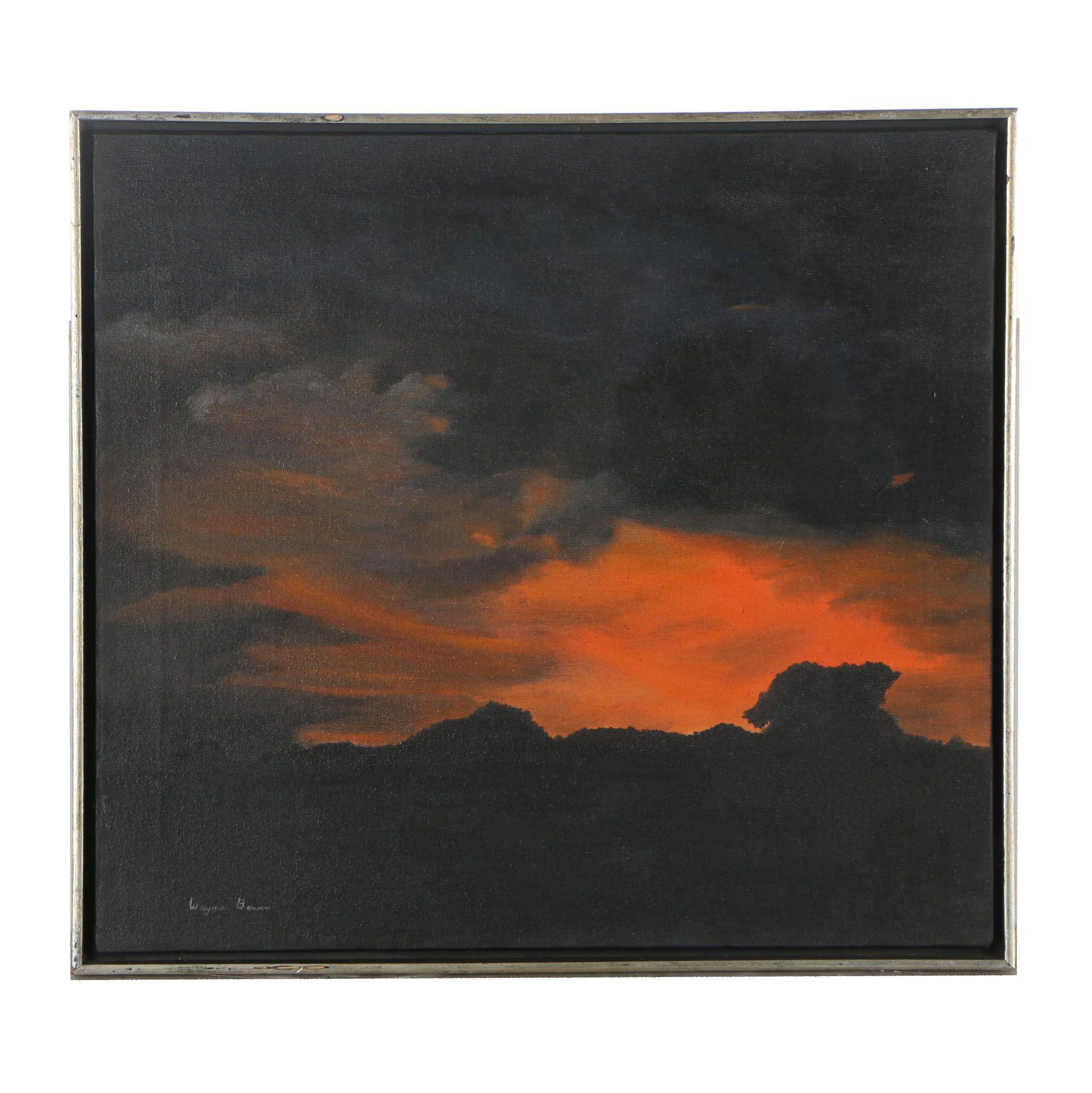 "Wayne Brown Oil Painting ""Autumn Sunset"""