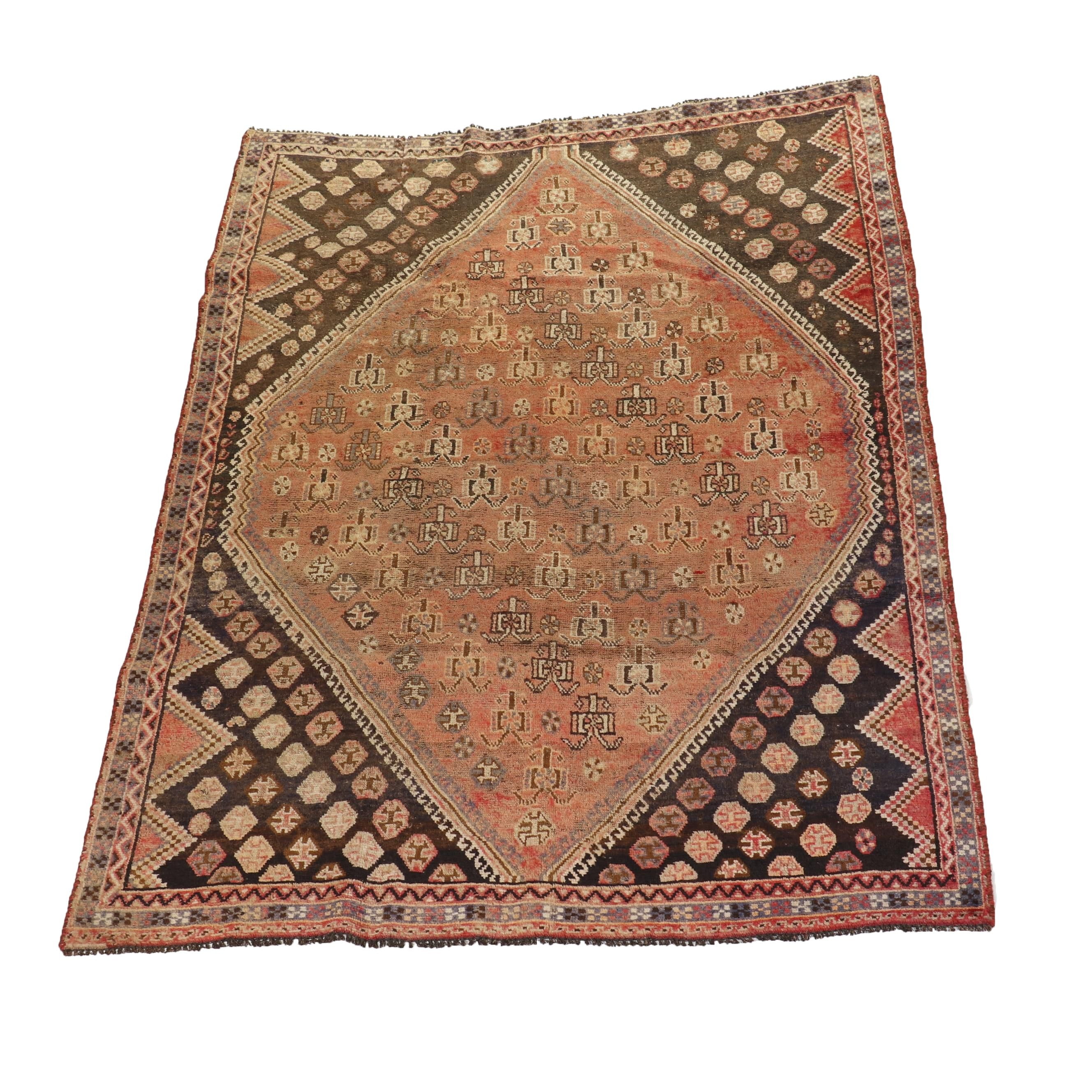 Hand-Knotted Qashqai Wool Rug
