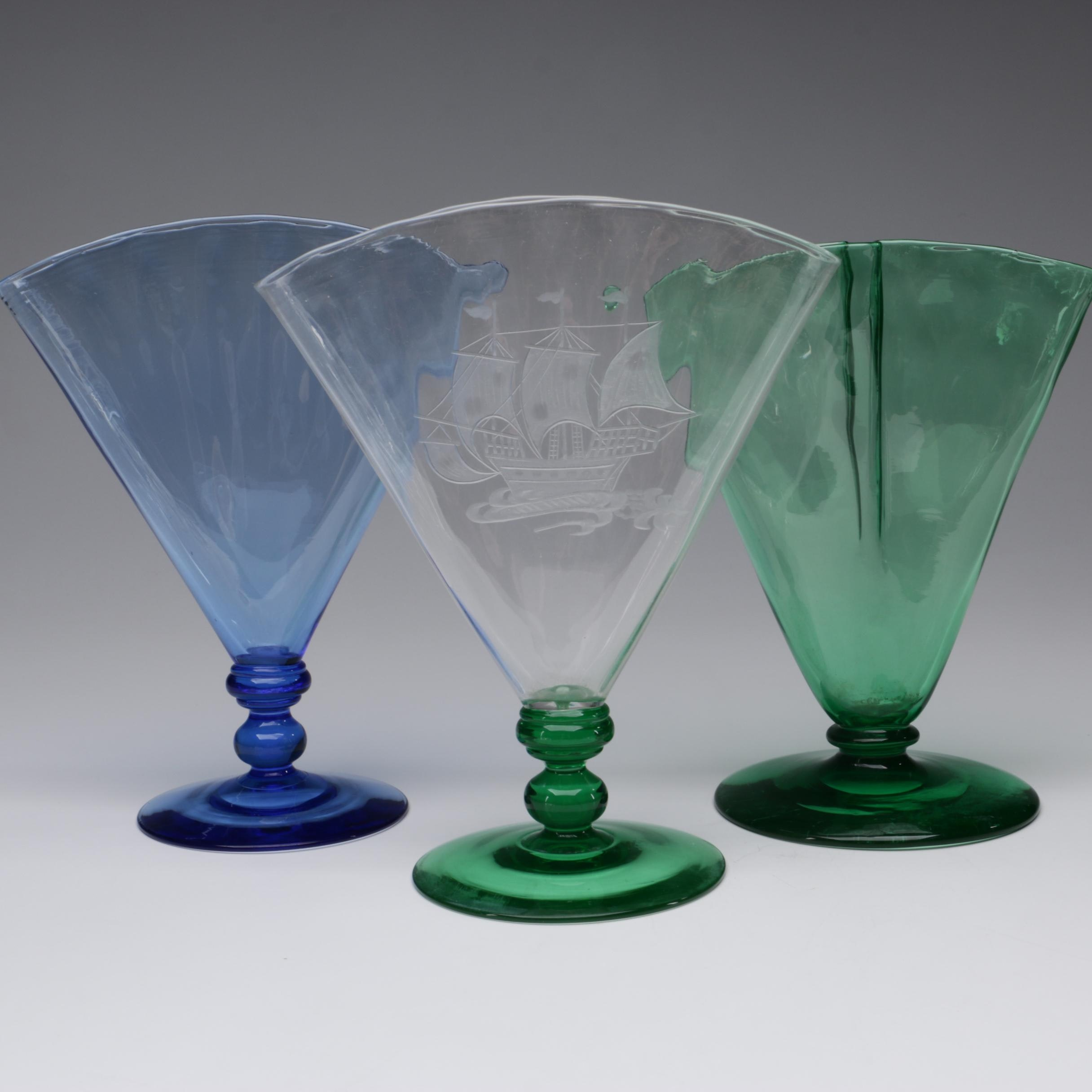 "Steuben Pomona Green ""Spanish Galleon"" and French Blue Art Glass Vases"