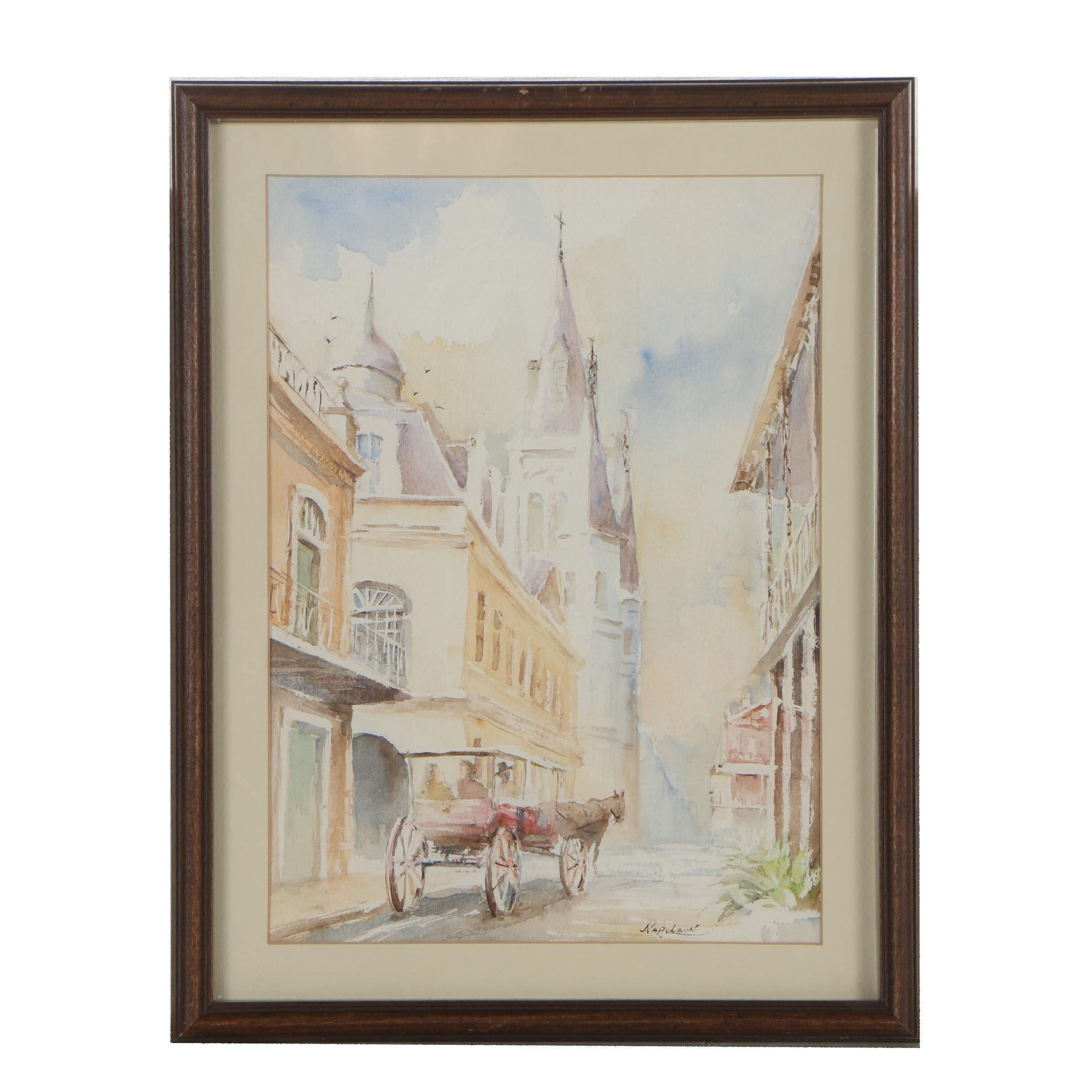 Late 20th Century Watercolor Painting of Street Scene