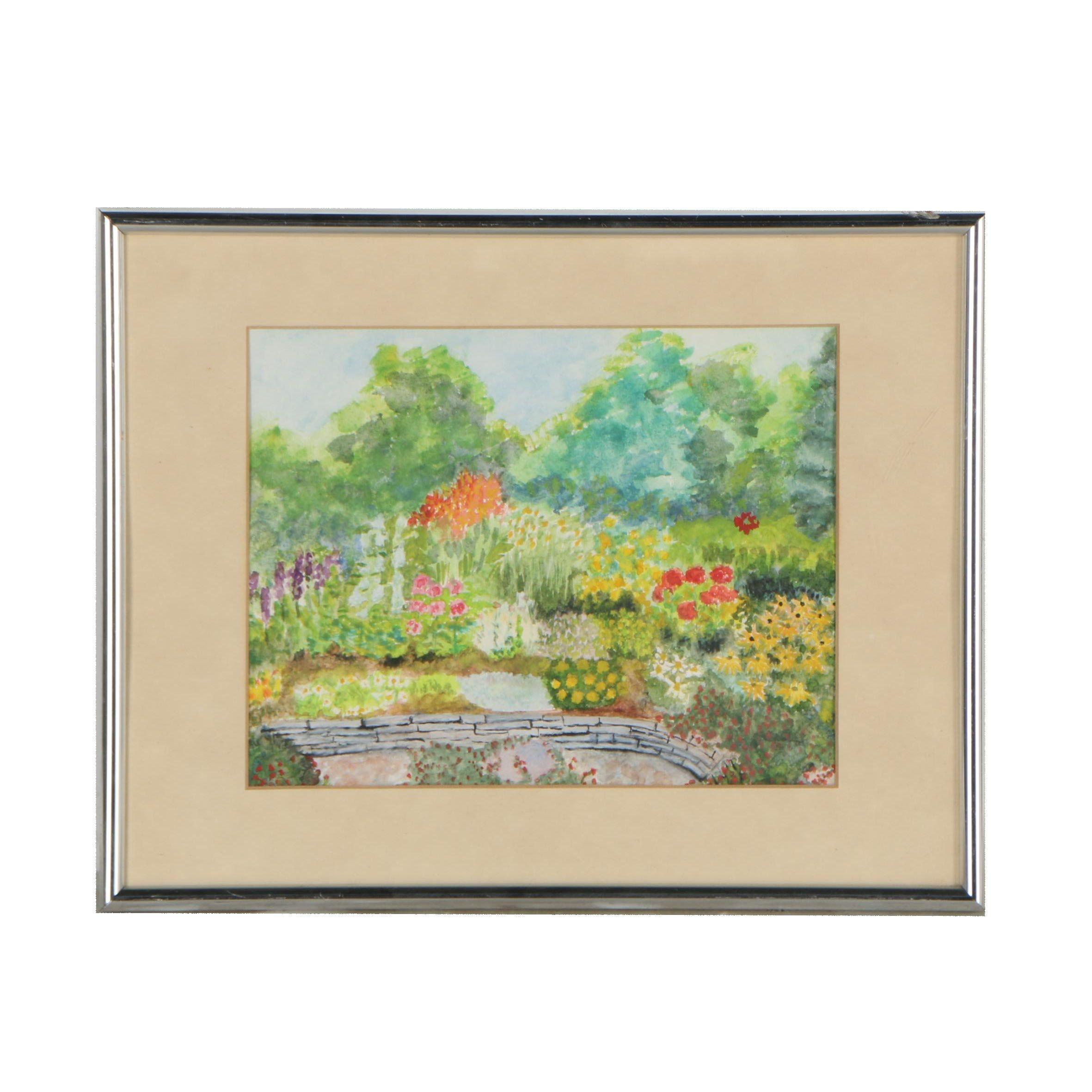 """Alexander C. Jeanett 1985 Watercolor Painting """"Garden in Eden"""""""