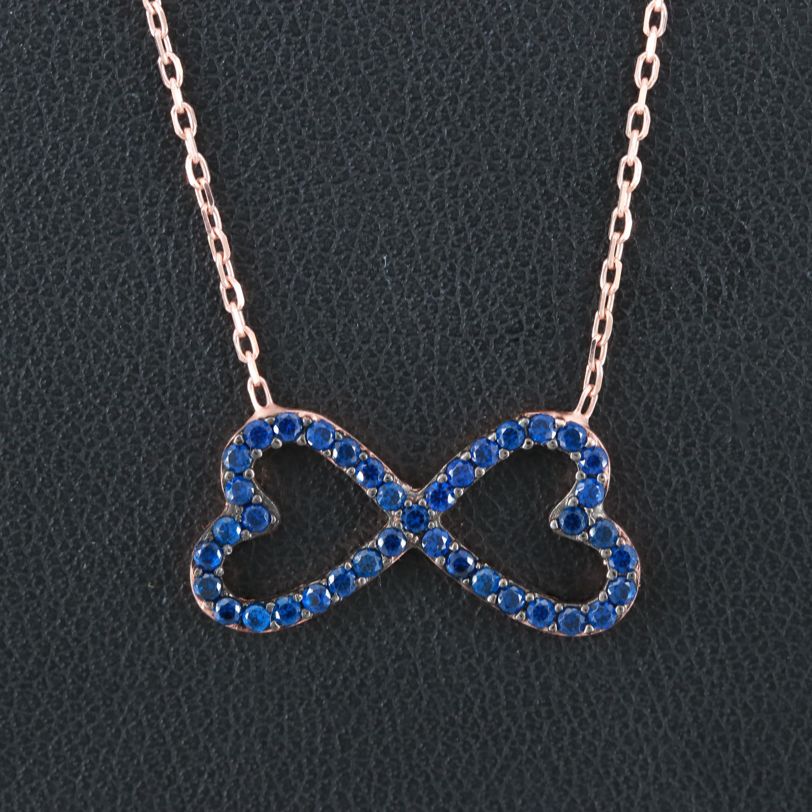 Rose Gold Wash on Sterling Silver Synthetic Blue Spinel Infinite Love Necklace