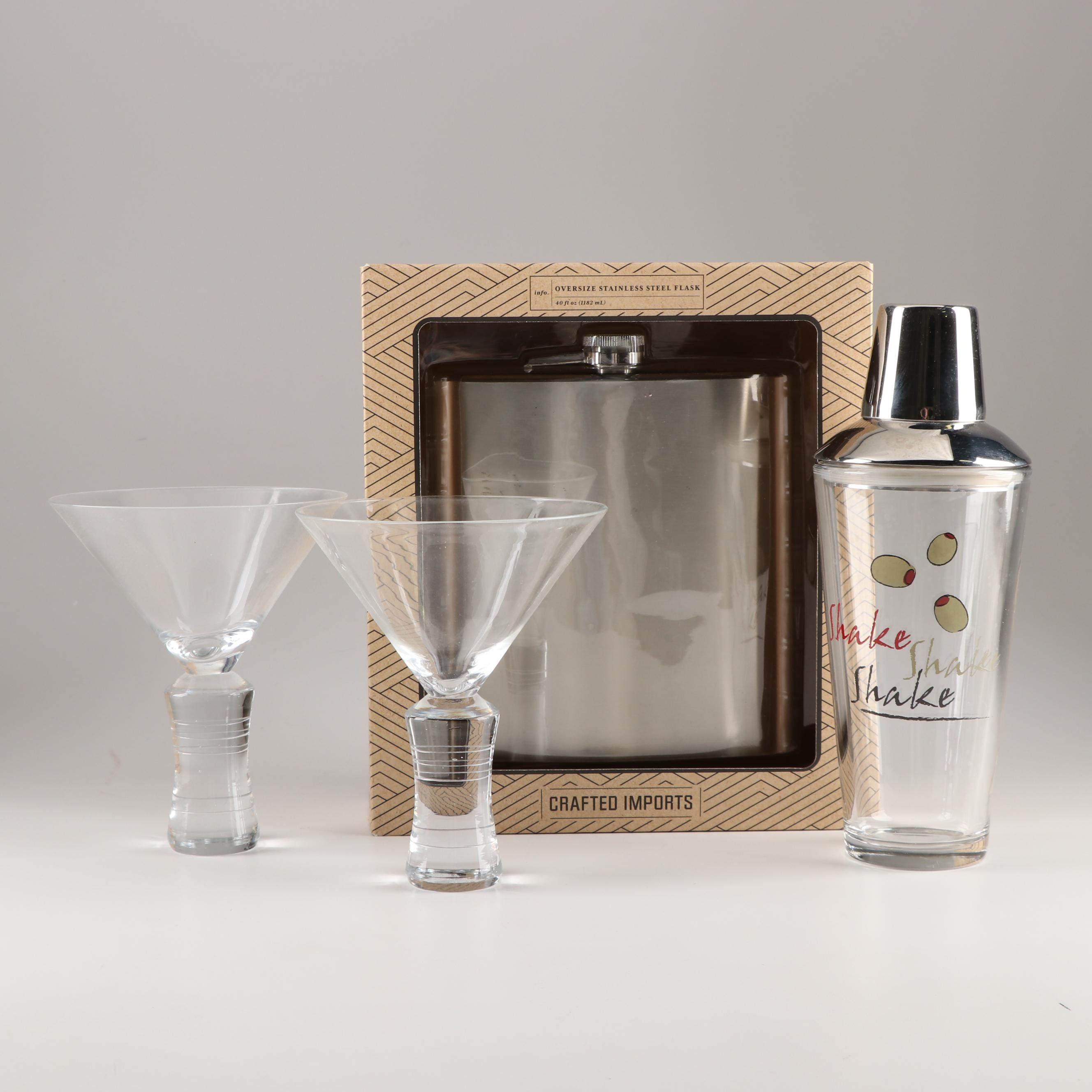Oversized Flask, Cocktail Shaker and Martini Glasses
