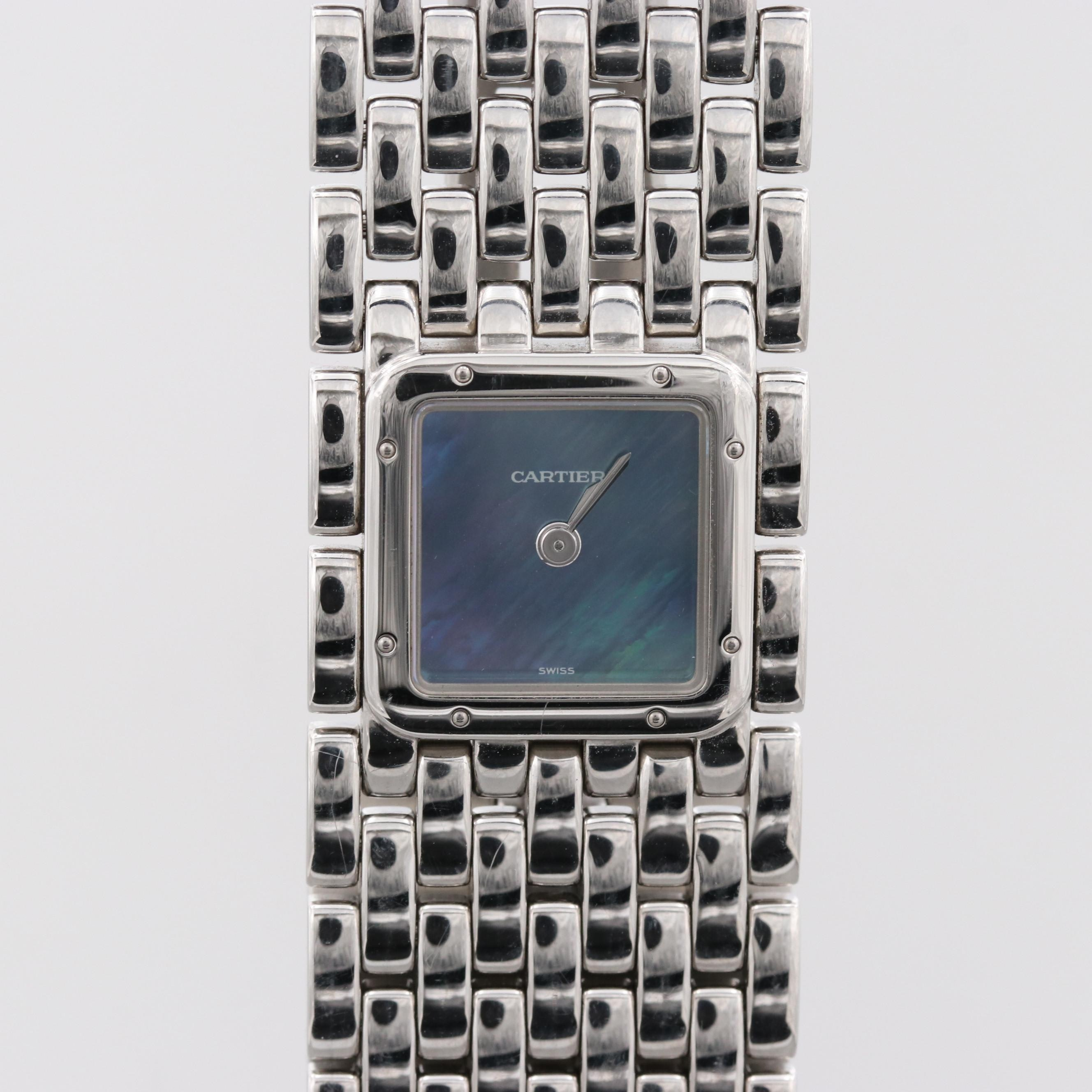Cartier Panthère Ruban Wristwatch With Blue Mother of Pearl Dial