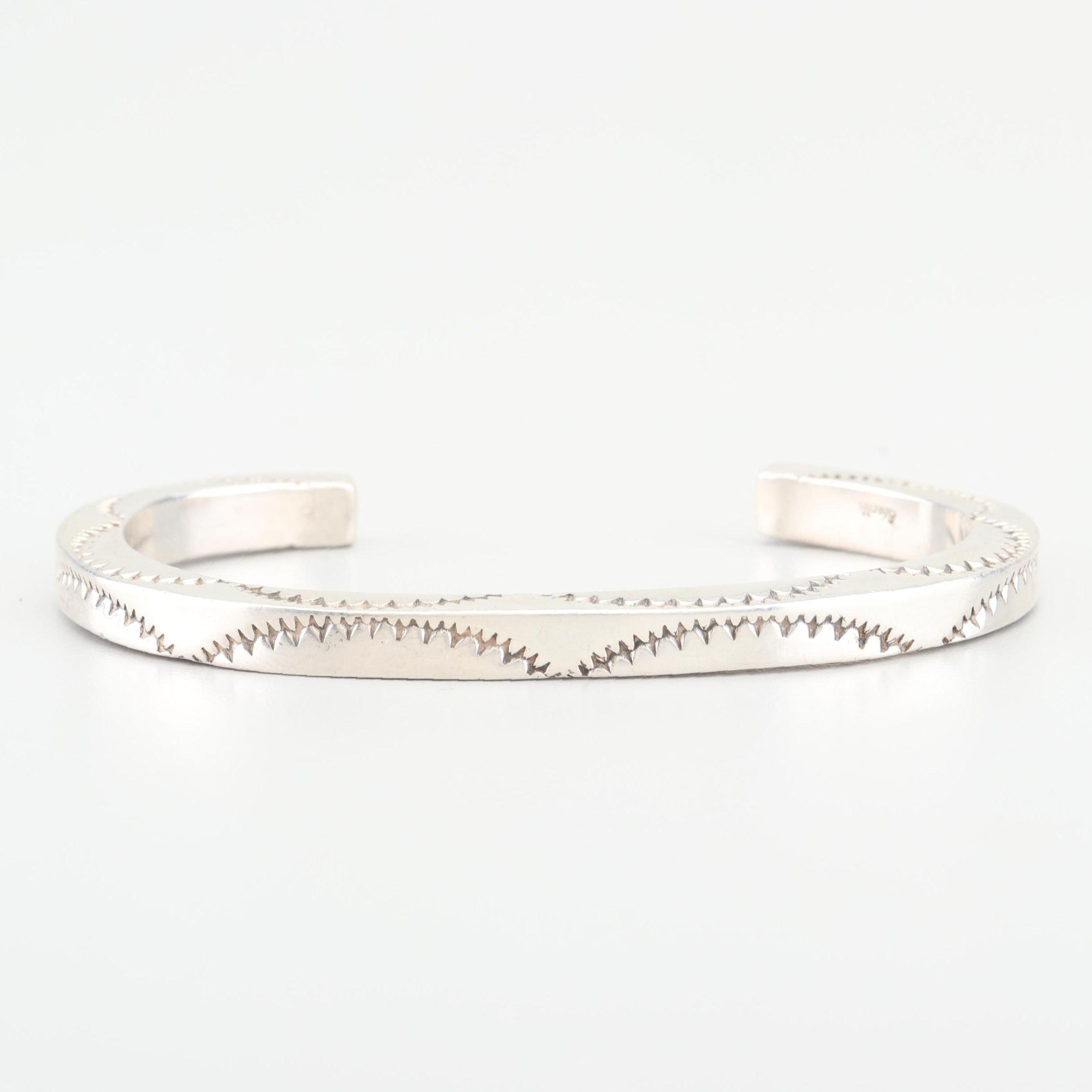 Sterling Silver Concho Style Cuff Bracelet