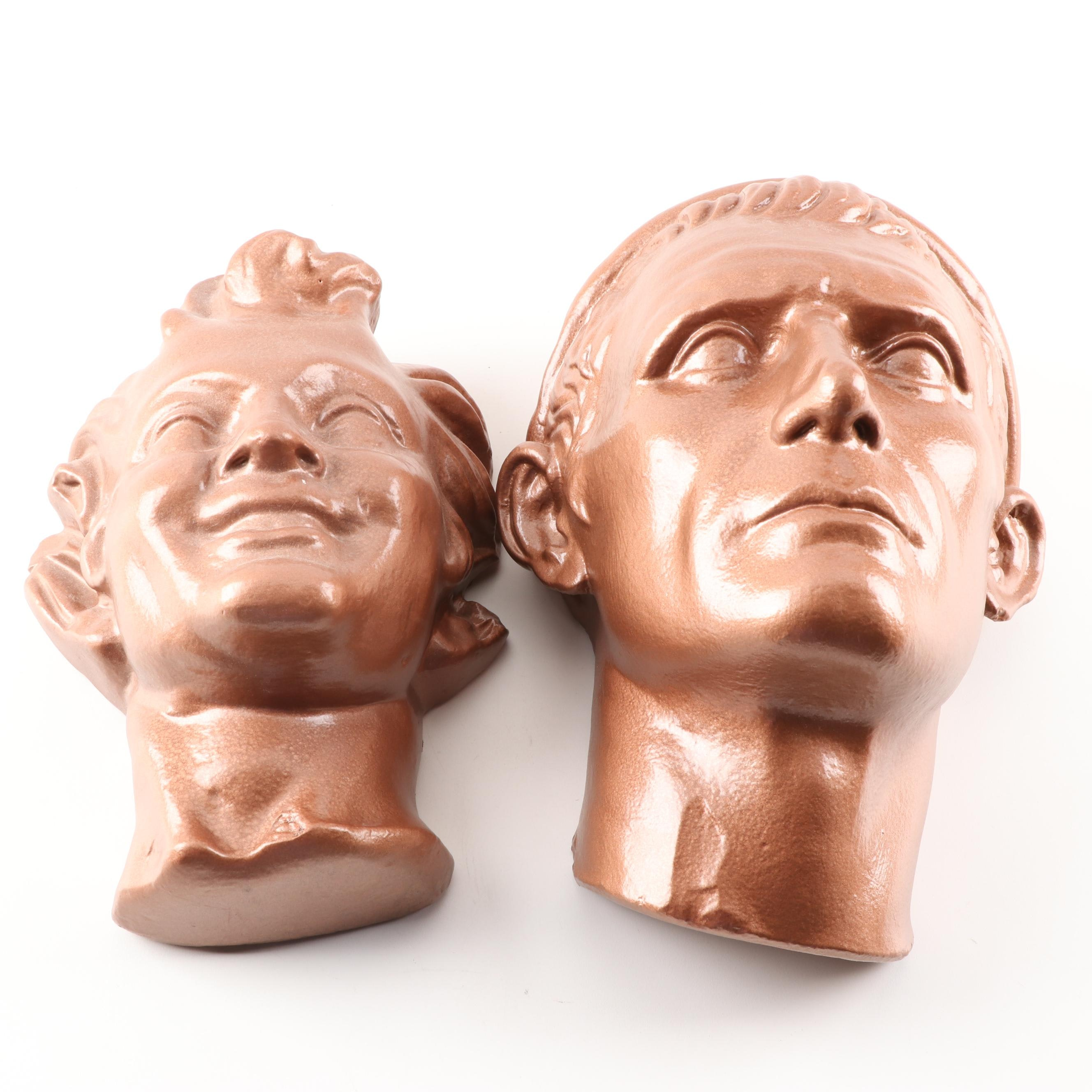 Copper Tone Plaster Wall Busts