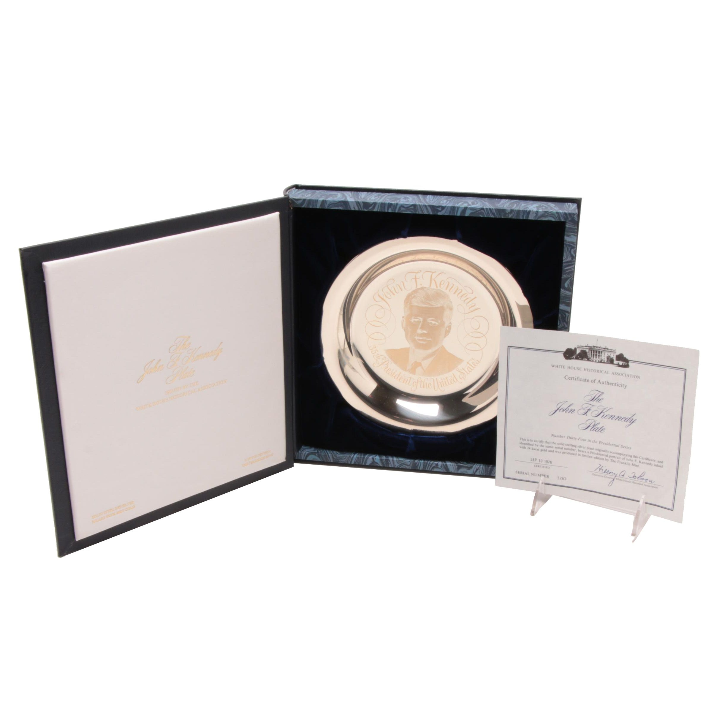 Sterling Silver and 24K Gold John F. Kennedy Limited Edition Collector's Plate