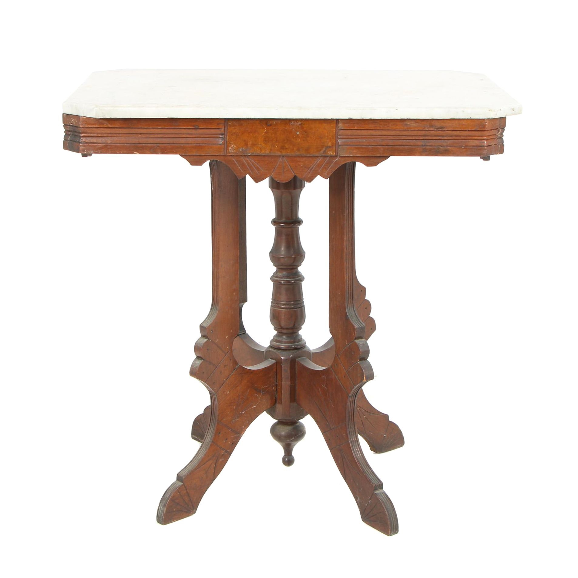 Eastlake Victorian Marble-Top Walnut Lamp Table, Circa 1890
