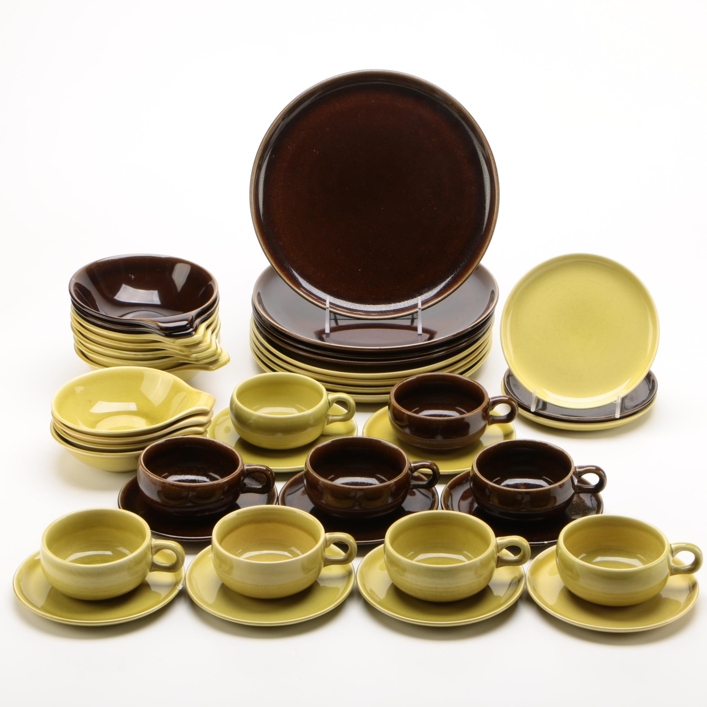 """Russel Wright for Steubenville """"Black Chutney"""" and """"Mustard"""" Dinnerware"""